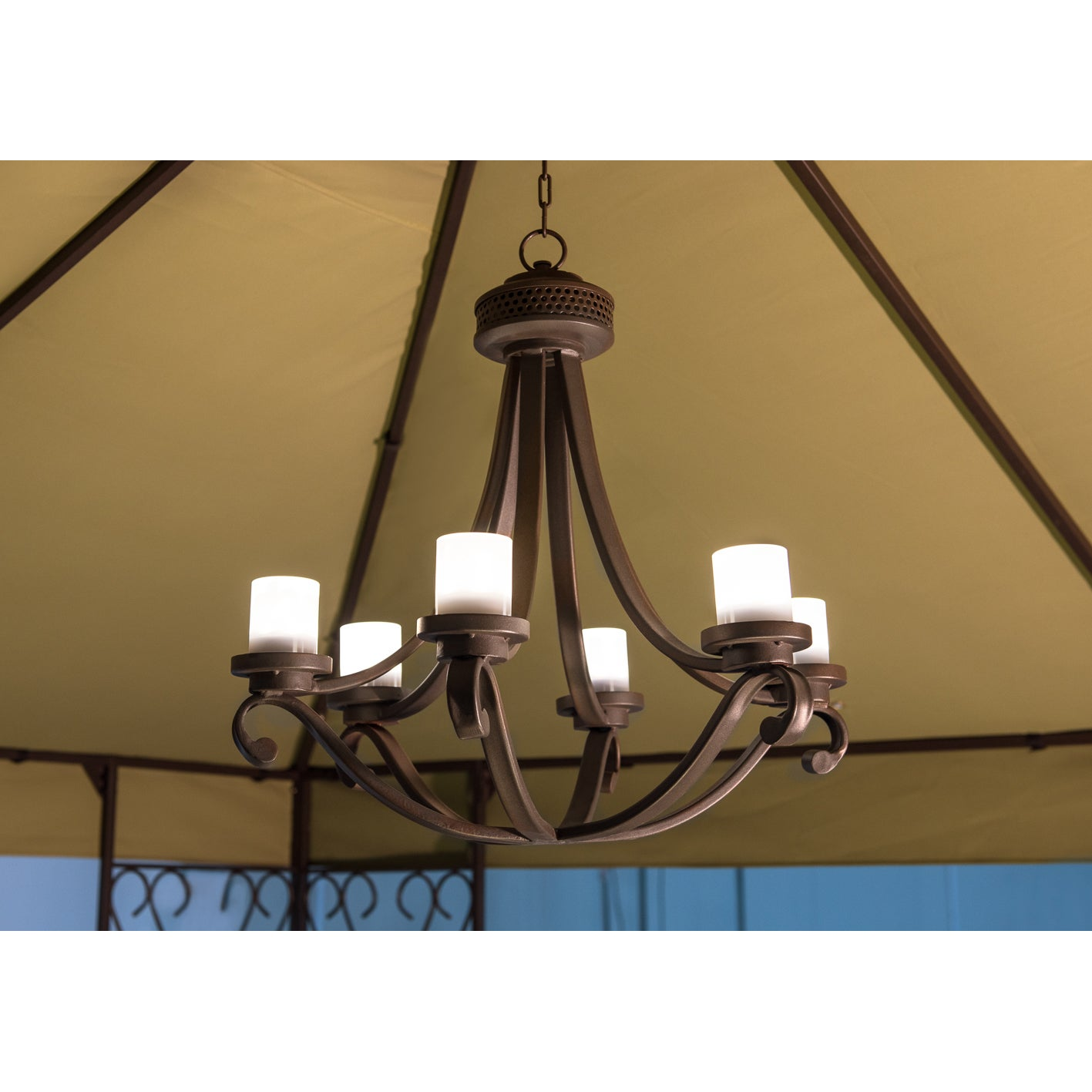 Sunjoy Flint 6 Light Battery Powered LED Chandelier With Remote