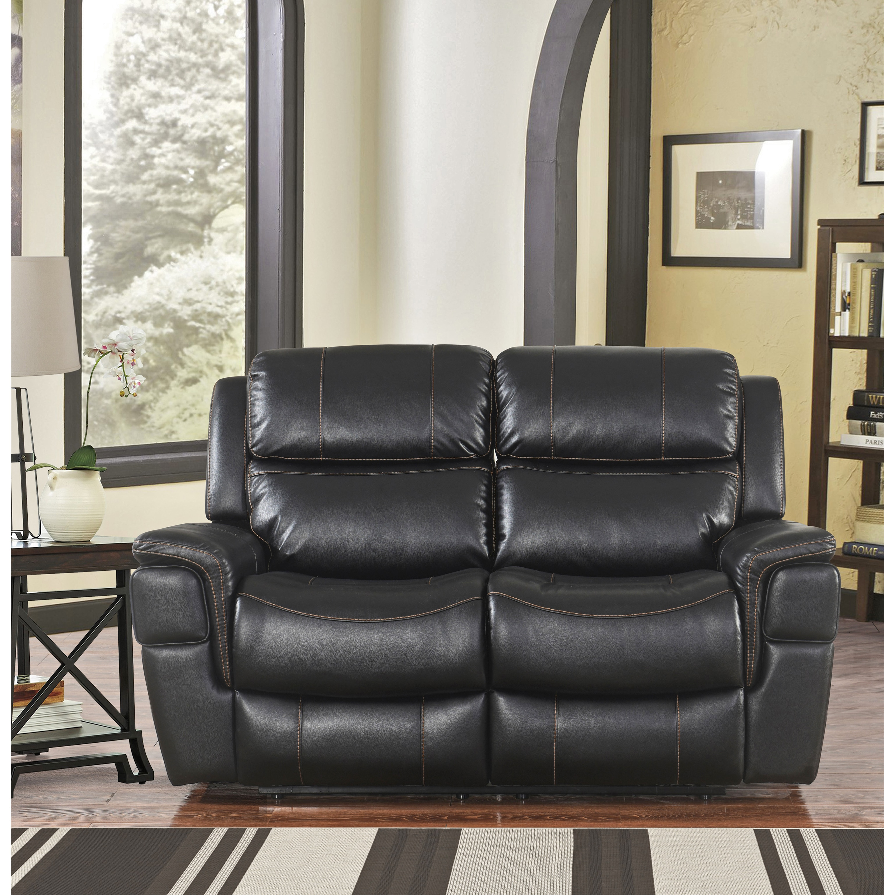 white reclining at delray loveseat black gardner share leather product