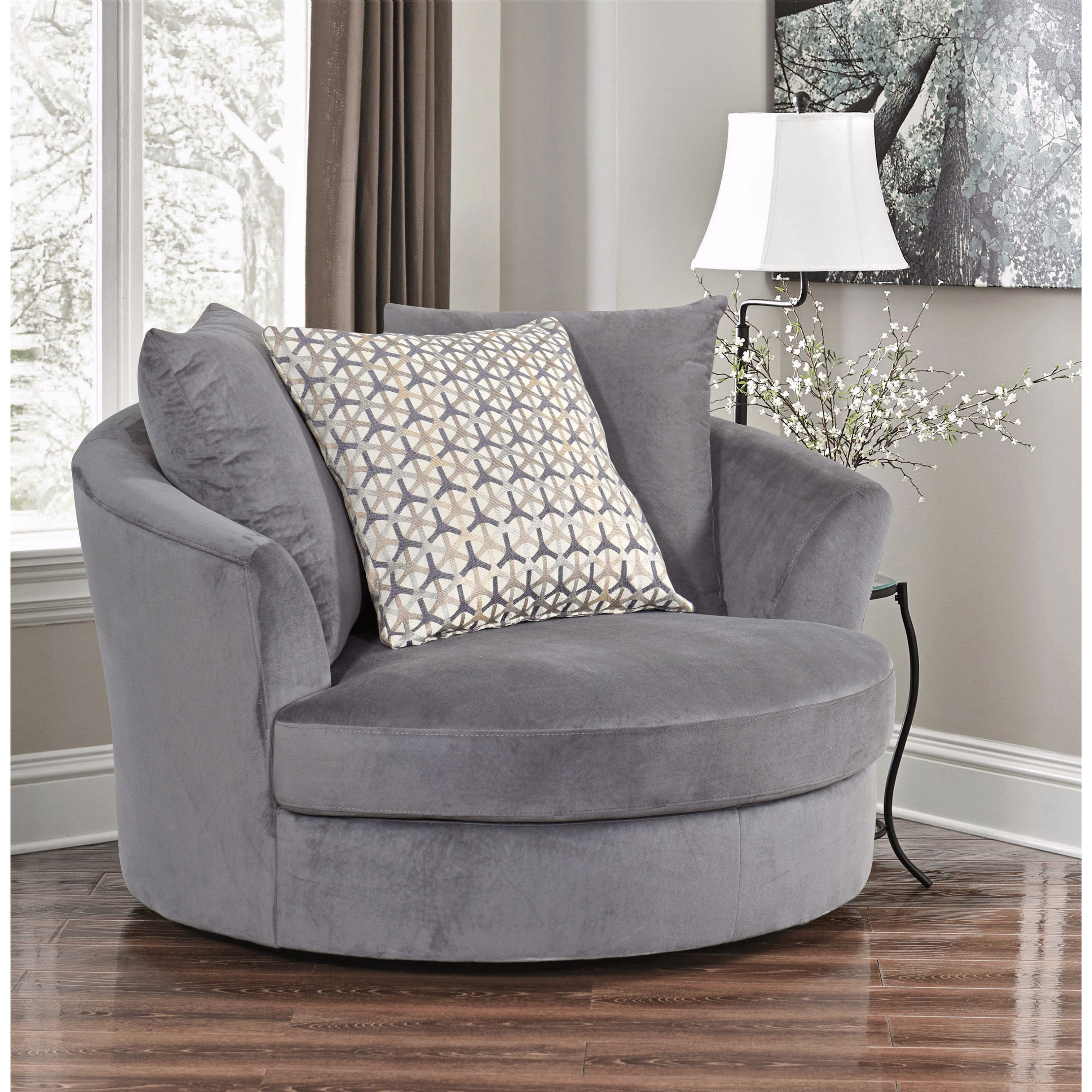 Attrayant Shop Abbyson Tanya Grey Fabric Round Swivel Chair   Free Shipping Today    Overstock.com   14466098