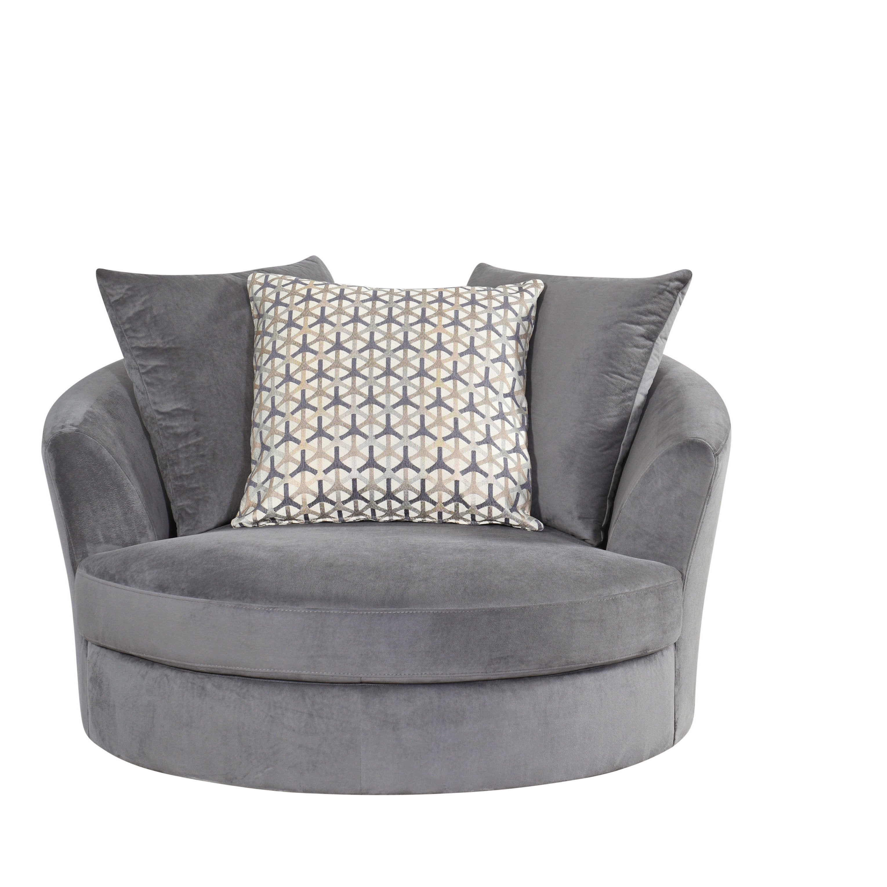 Delicieux Shop Abbyson Tanya Grey Fabric Round Swivel Chair   Free Shipping Today    Overstock.com   14466098