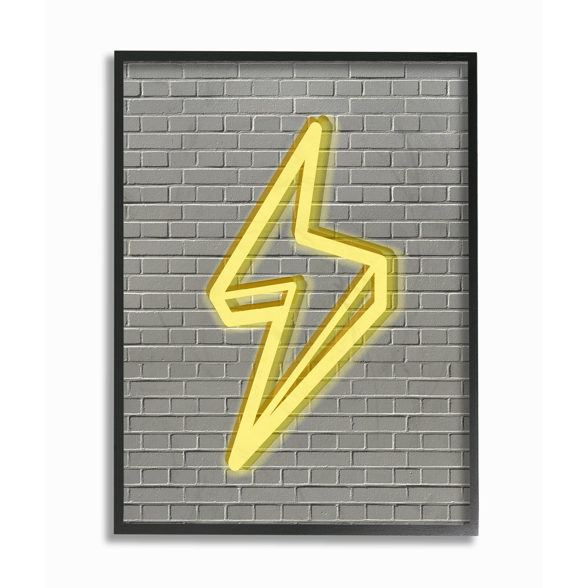 Shop \'Neon Lightning with Brick Background\' Framed Giclee Texturized ...