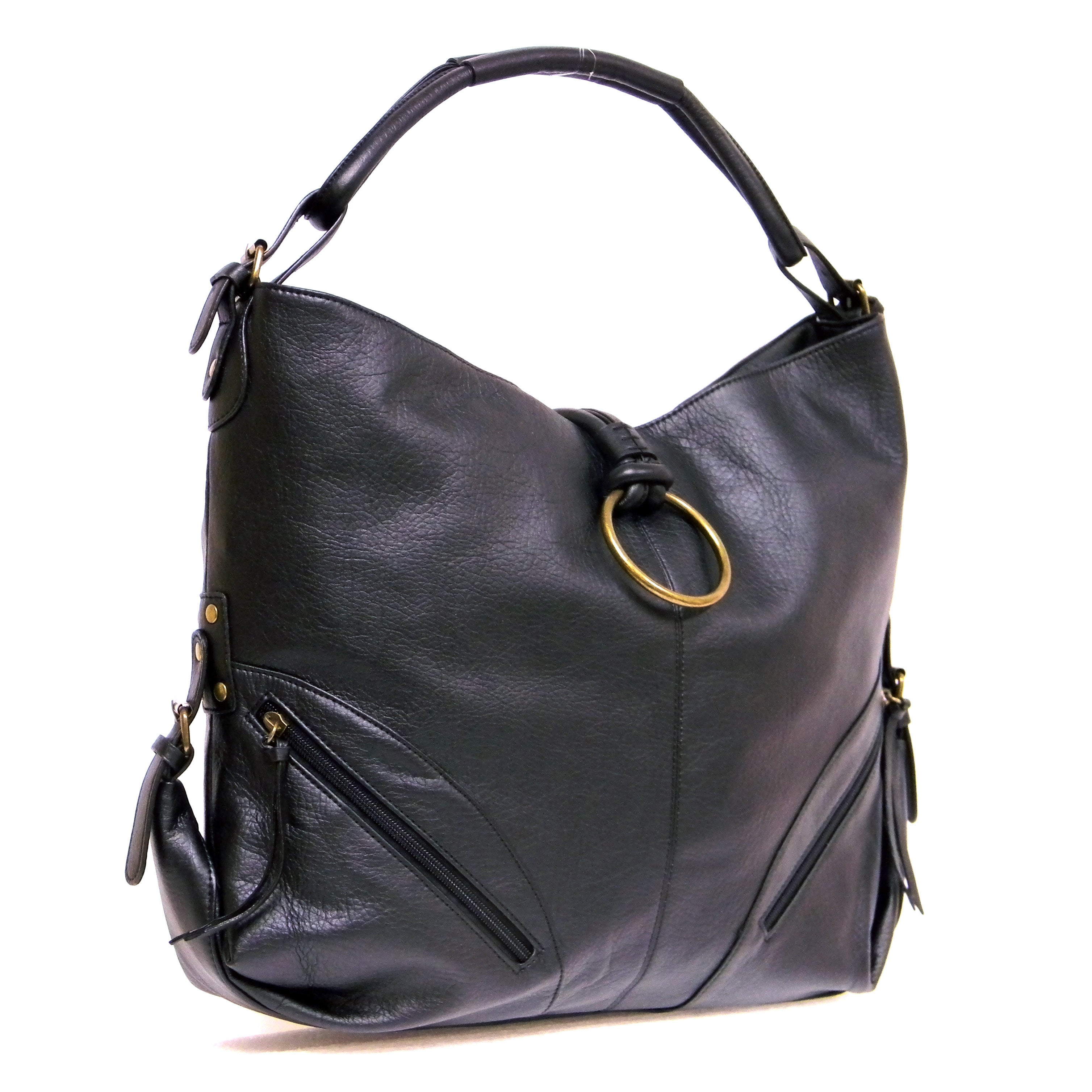 Donna Bella Designs Octavia Black Faux Leather Hobo Handbag On Free Shipping Orders Over 45 14490769