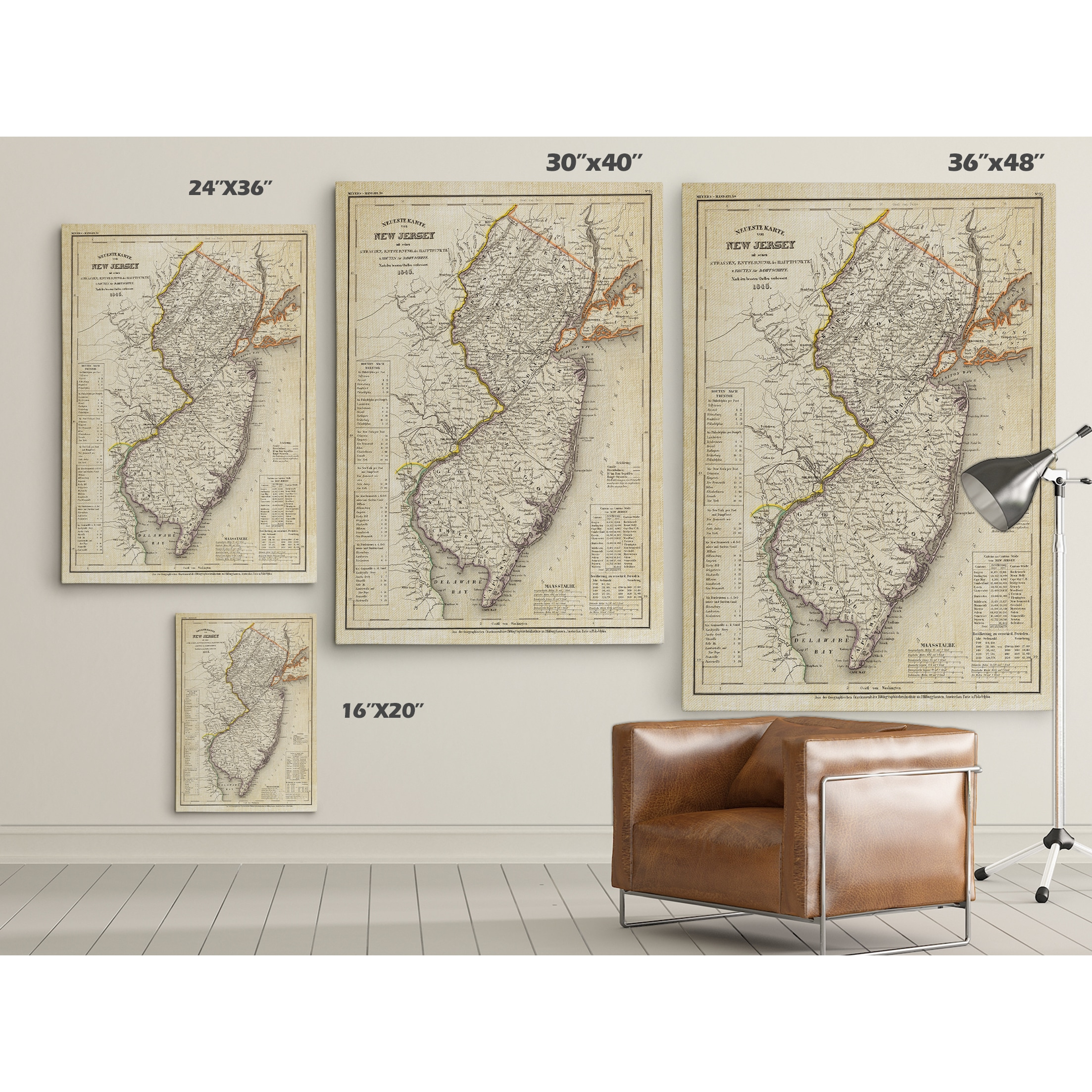 Shop Vintage Map New Jersey II Premium Gallery Wrapped Canvas - 36 x 48 world map