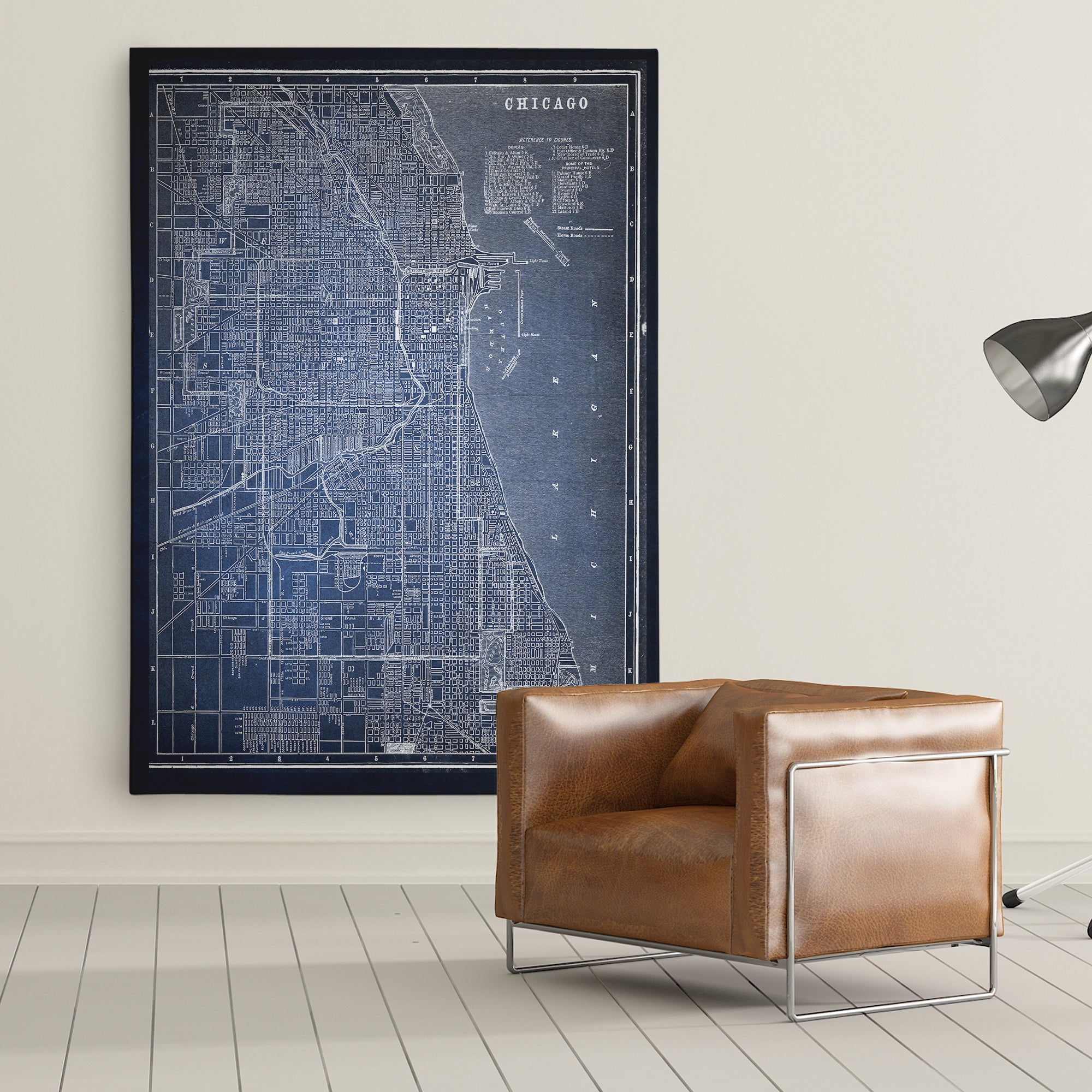 Chicago Map Canvas.Shop Chicago Sketch Map Blue Premium Gallery Wrapped Canvas On