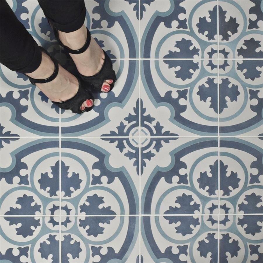 Shop SomerTile 7.875x7.875-inch Cement Queen Mary Sky Cement Floor ...