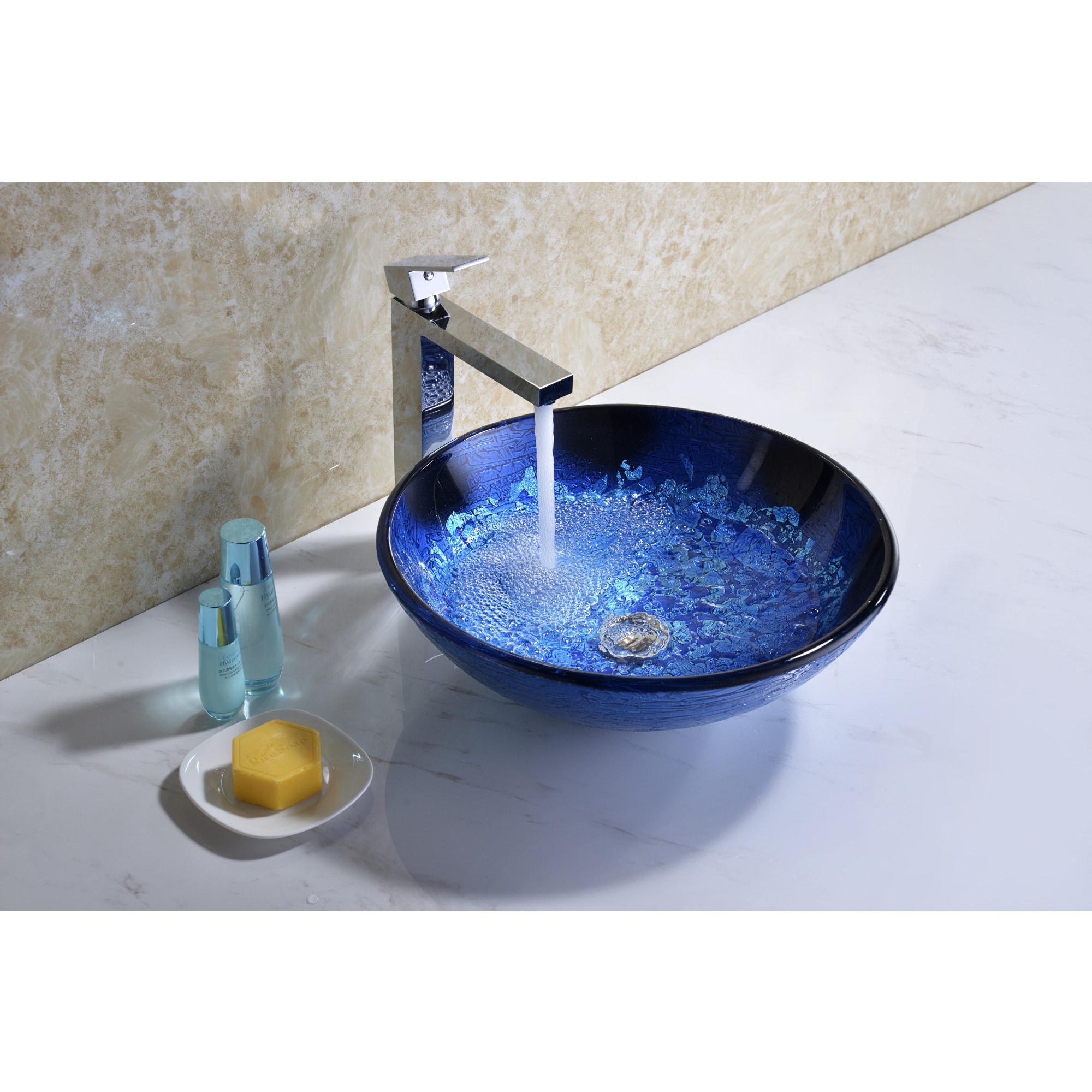 Shop Stellar Series Deco-Glass Vessel Sink in Blue Blaze - Free ...
