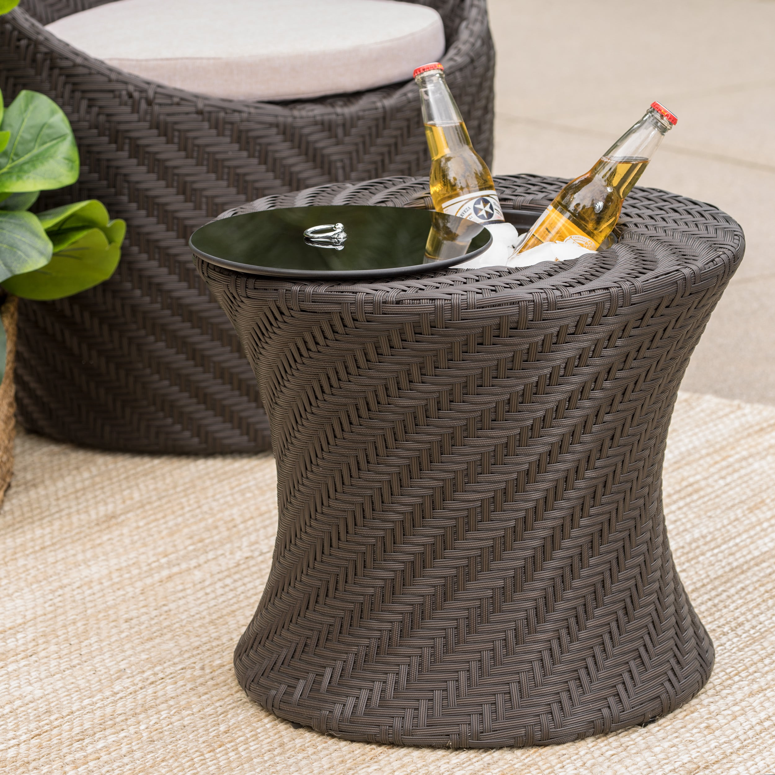La Jolla Outdoor Wicker Accent Table With Ice Bucket By Christopher Knight Home On Free Shipping Today 14491515