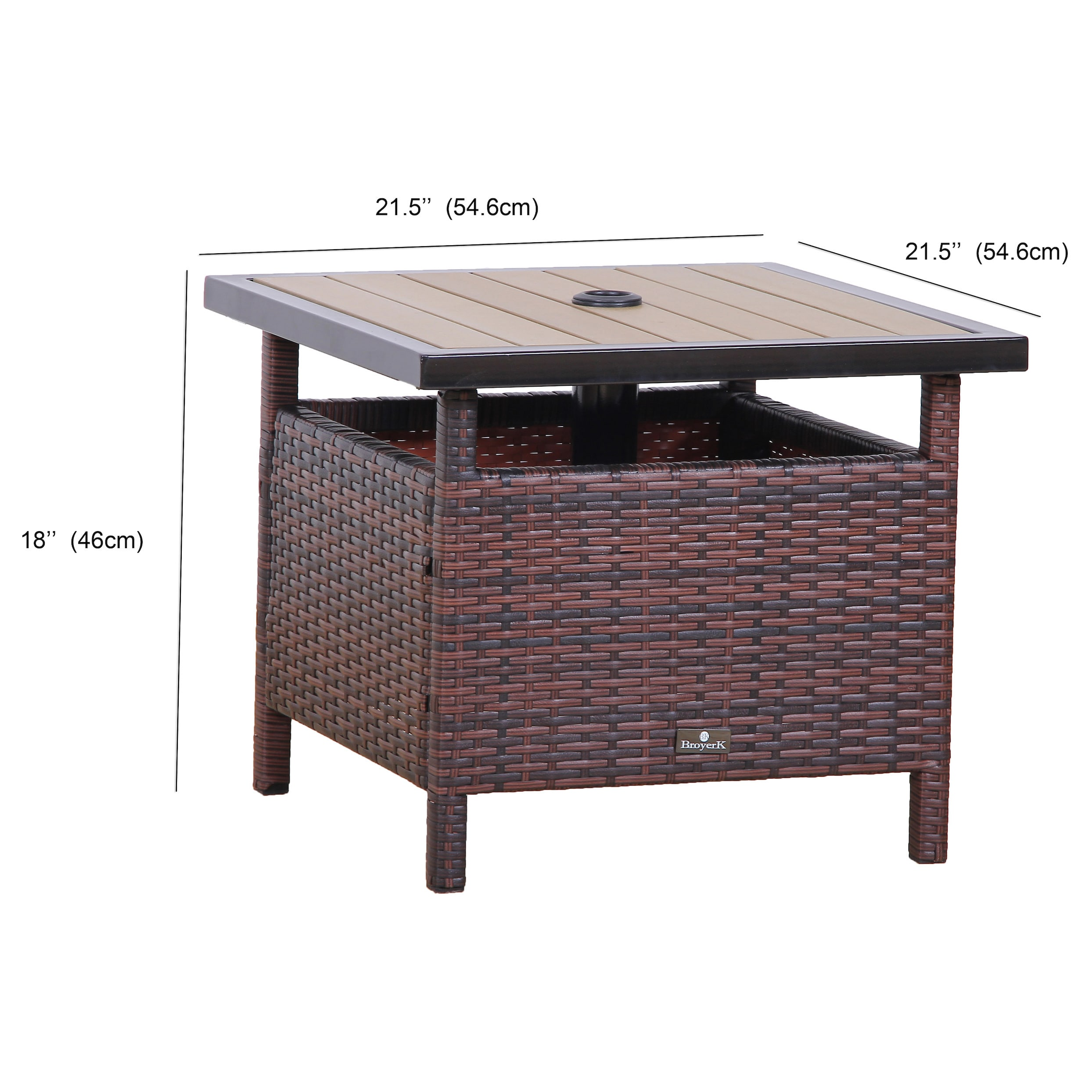 Broyerk Rattan Wood Patio Umbrella Stand Dining Table