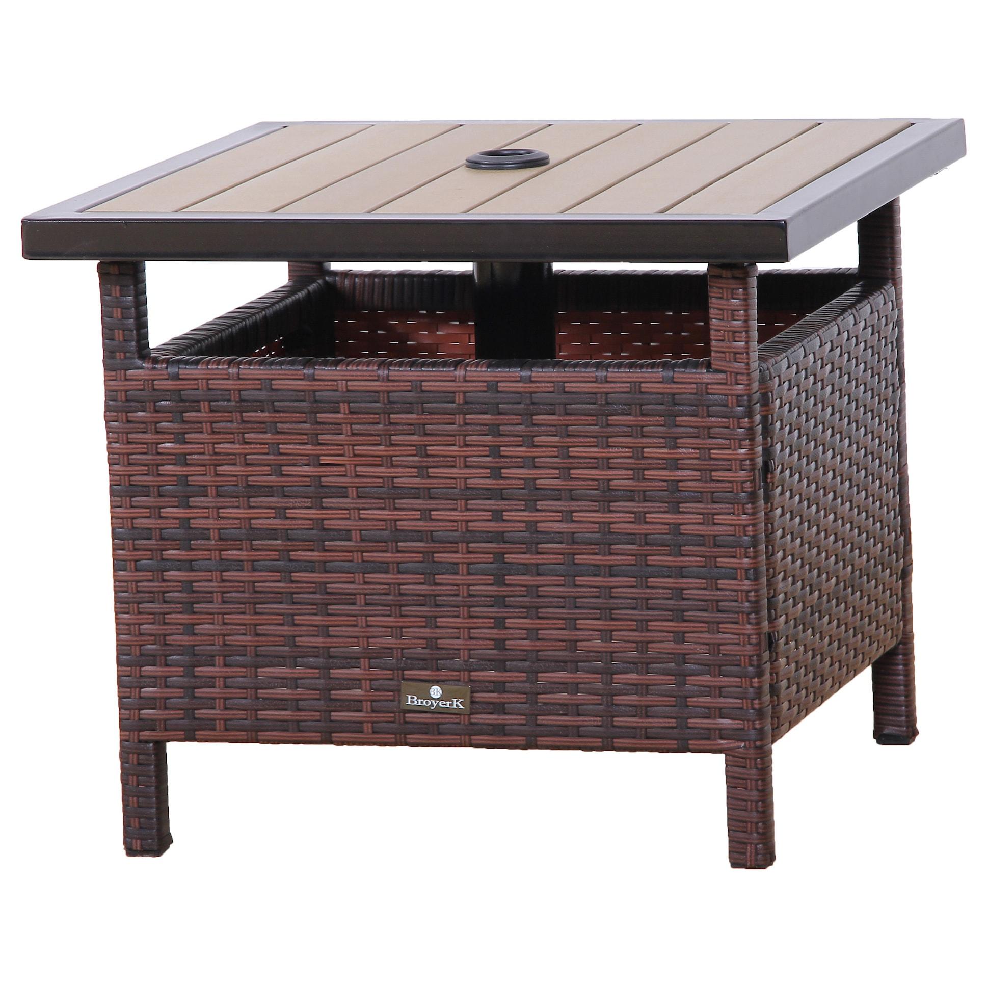 Shop Broyerk Rattan Wood Patio Umbrella Stand Dining Table Free