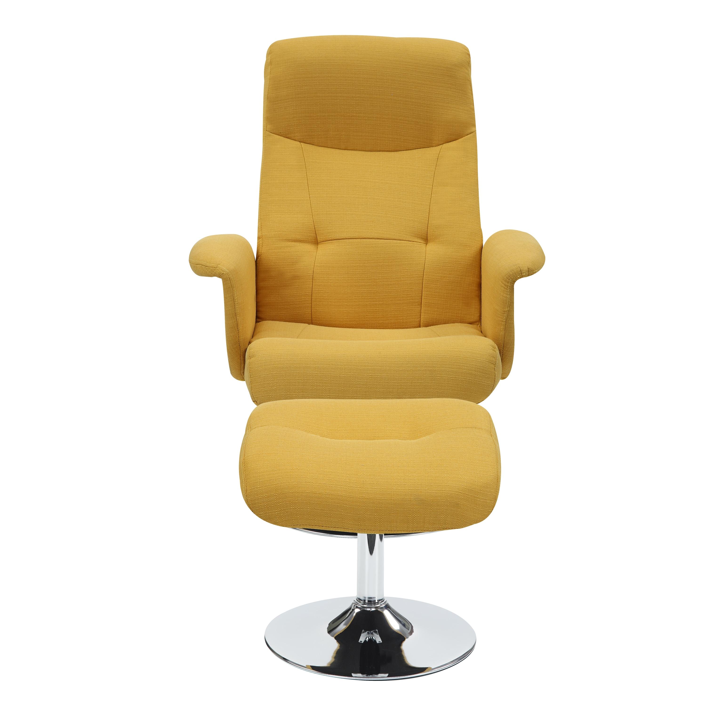 Handy Living Dahna Mustard Yellow Linen Chair and Ottoman Free