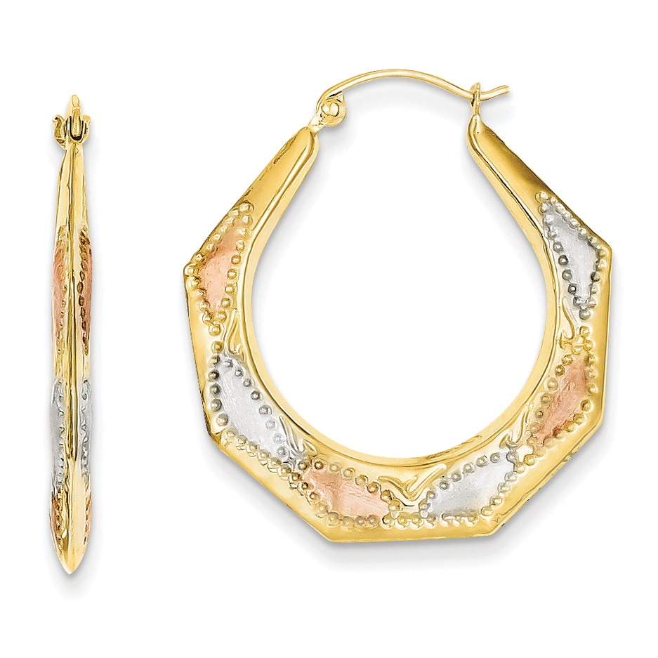 Versil 14 Karat Gold With White And Rose Rhod Ollow Hoop Earrings Free Shipping Today 14505338