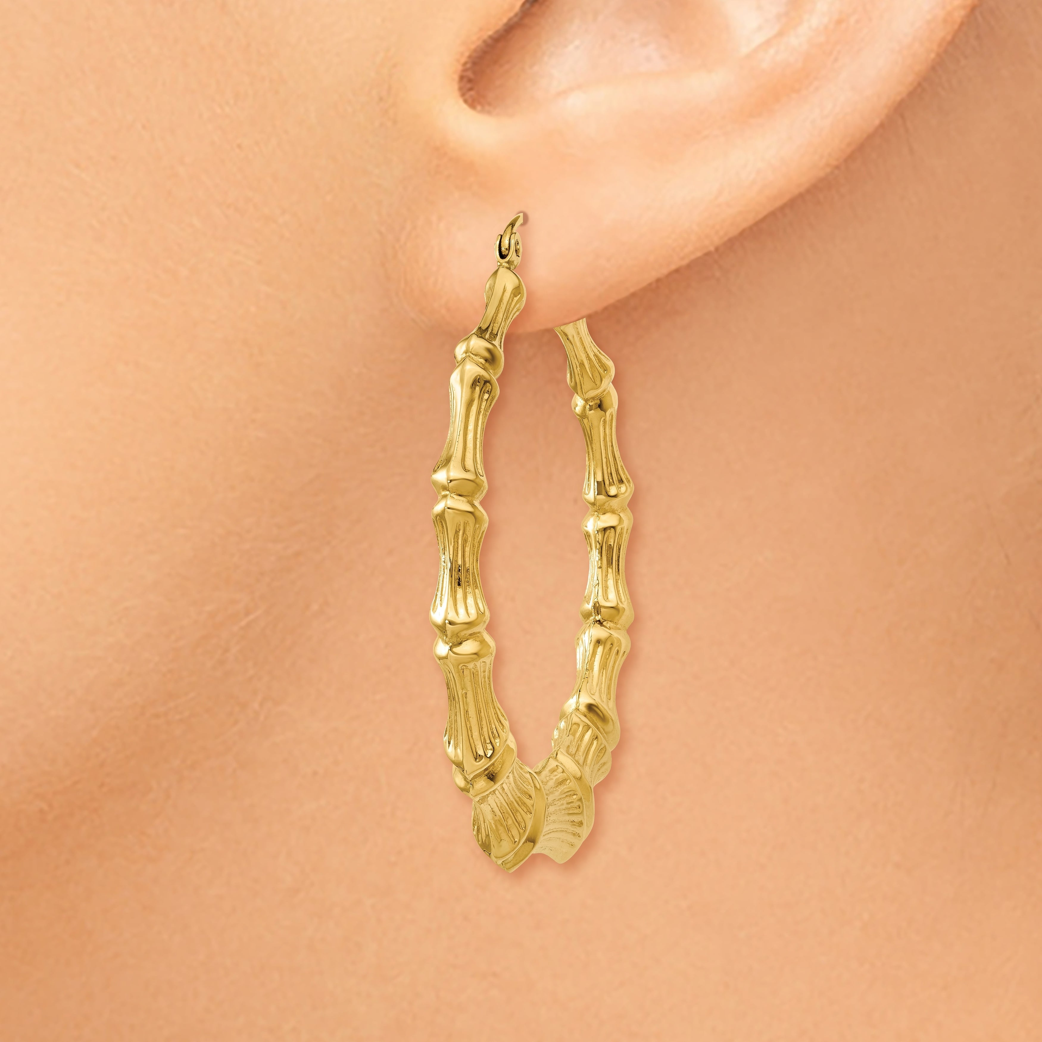 Versil 14k Yellow Gold Polished Bamboo Hoop Earrings Free Shipping Today 14505351