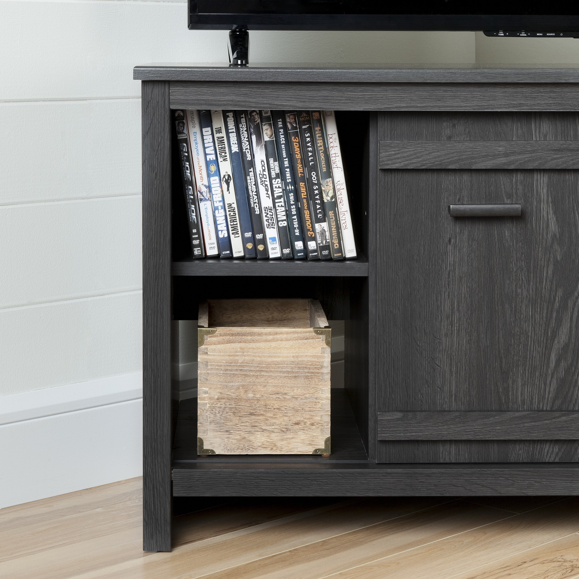 South Shore Grey Oak Exhibit Corner TV Stand   Free Shipping Today    Overstock   21061888
