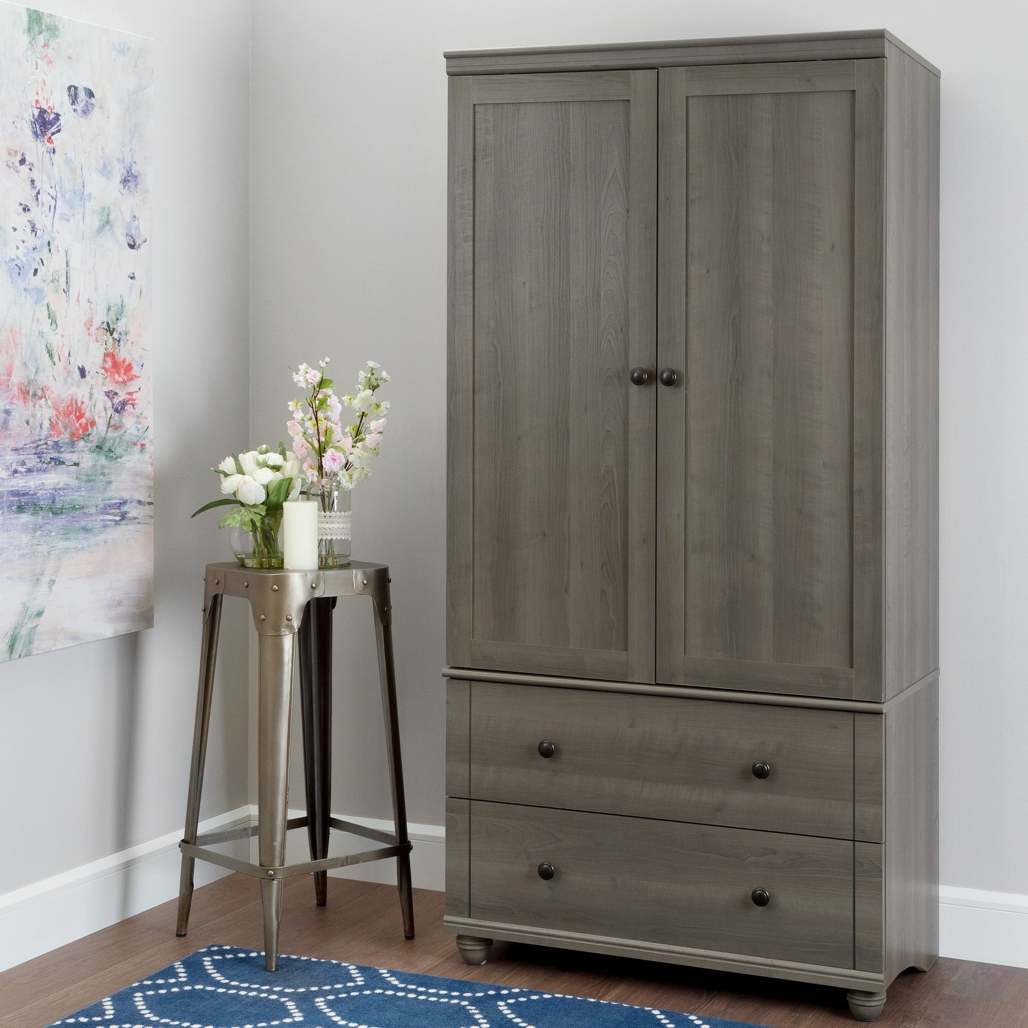 South Shore Hopedale 2 Drawer Storage Armoire   Free Shipping Today    Overstock.com   21061889
