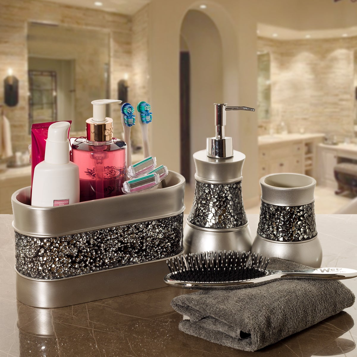 Shop Creative Scents Brushed-nickel 3-compartment Bathroom Organizer - Free Shipping On Orders Over $45 - Overstock.com - 14505747