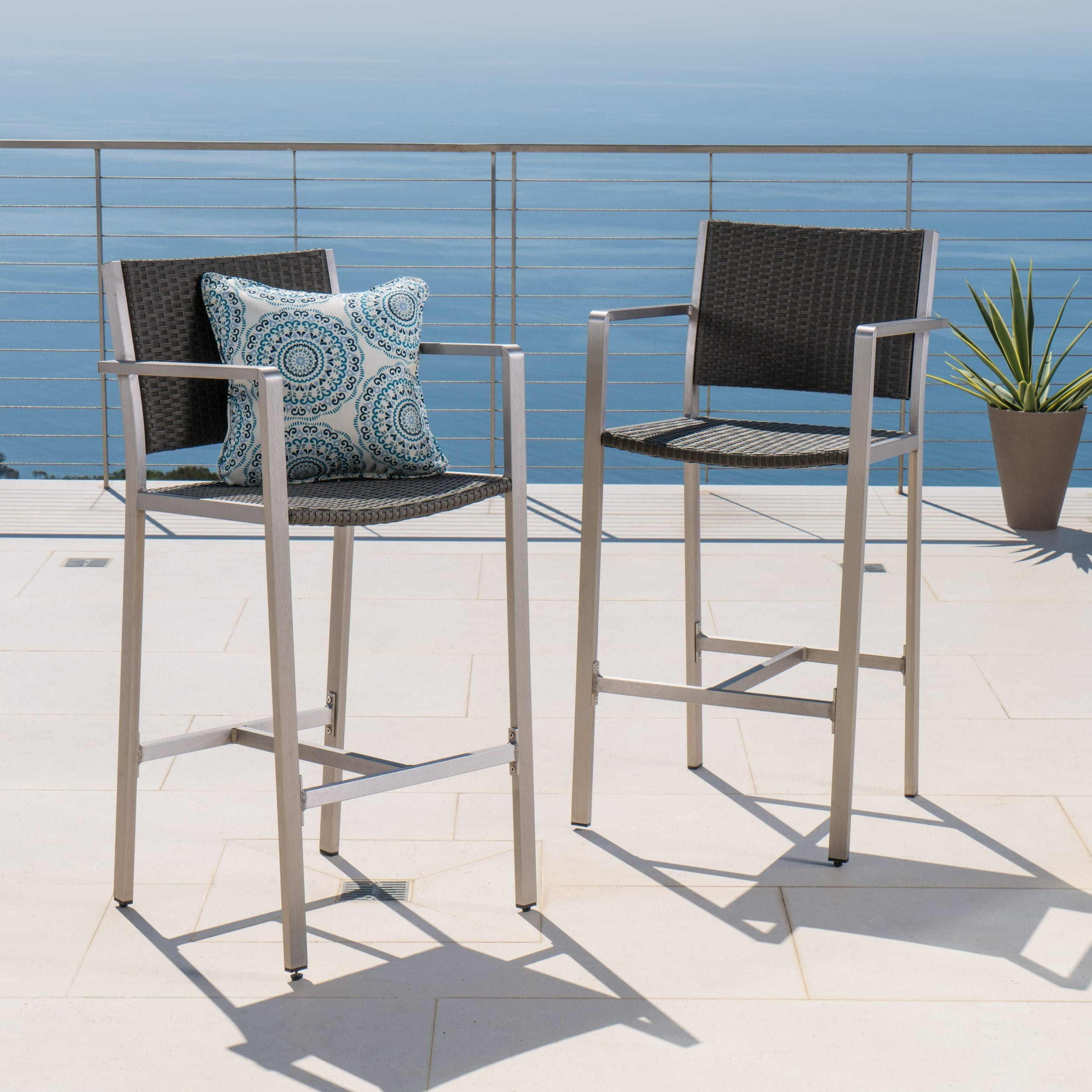 Cape Coral Outdoor Wicker Barstool (Set of 2) by Christopher Knight ...