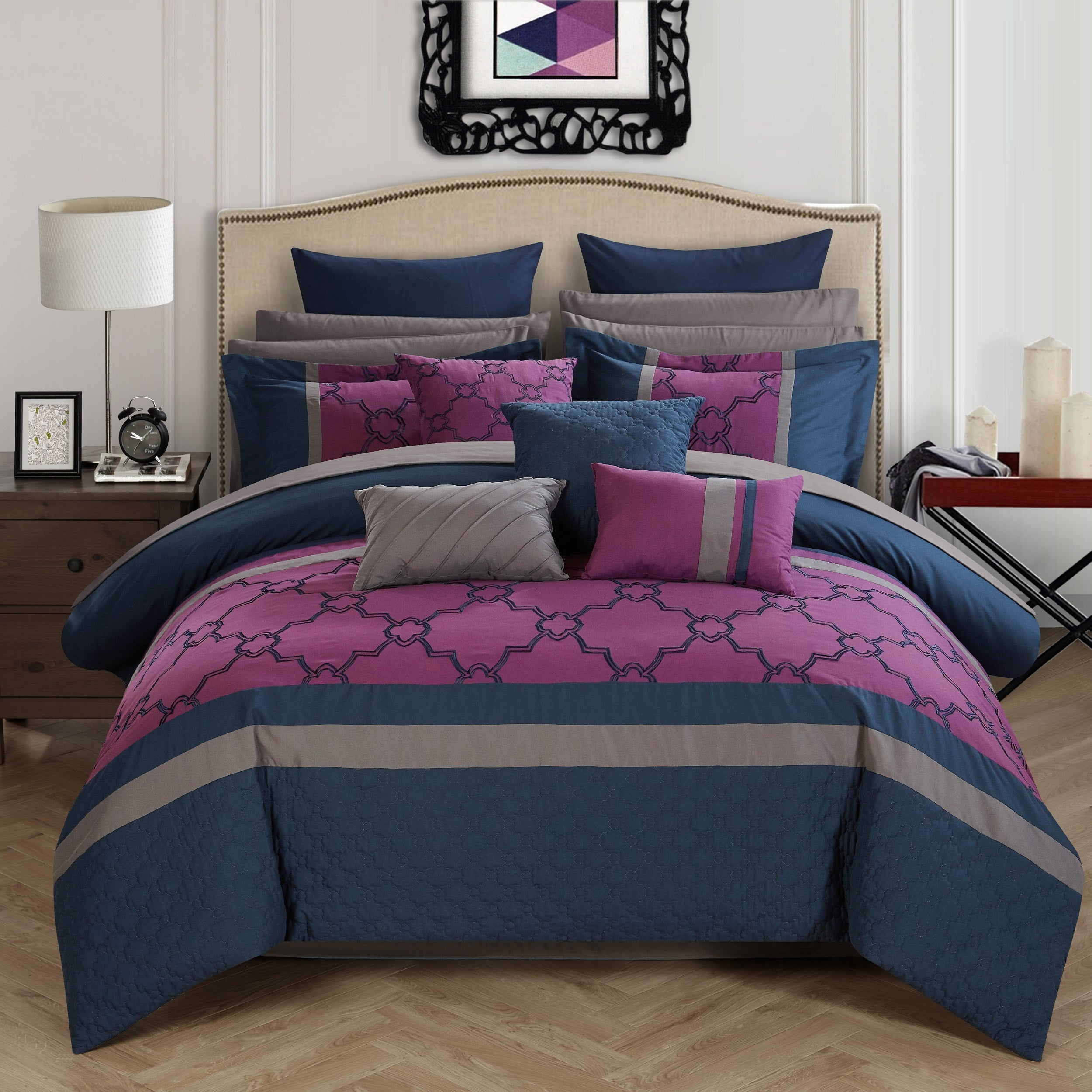 Chic Home 16 Piece Casper King Bed In a Bag forter Set Free
