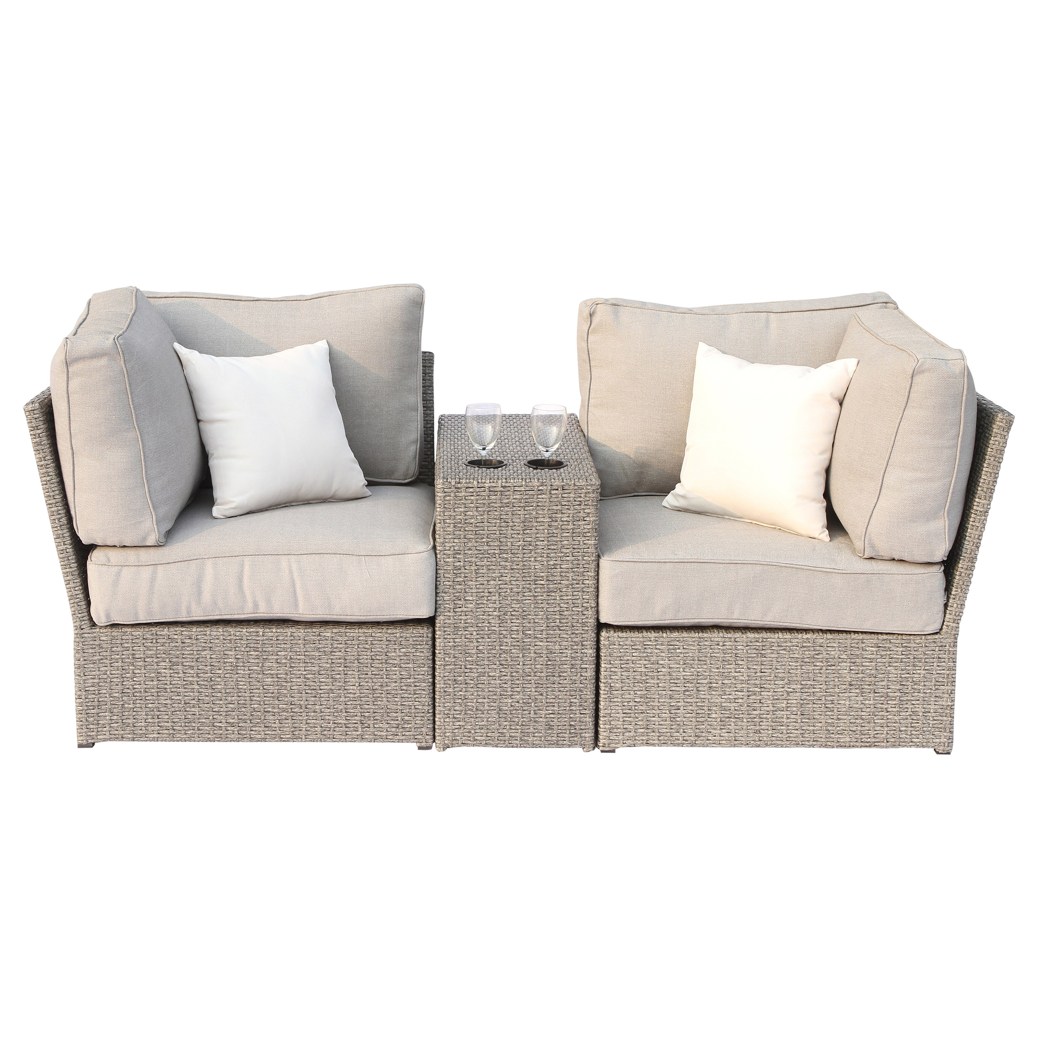 Shop Chelsea Grey Wicker Patio Loveseat Sofa By Living Source International    Free Shipping Today   Overstock.com   14506347