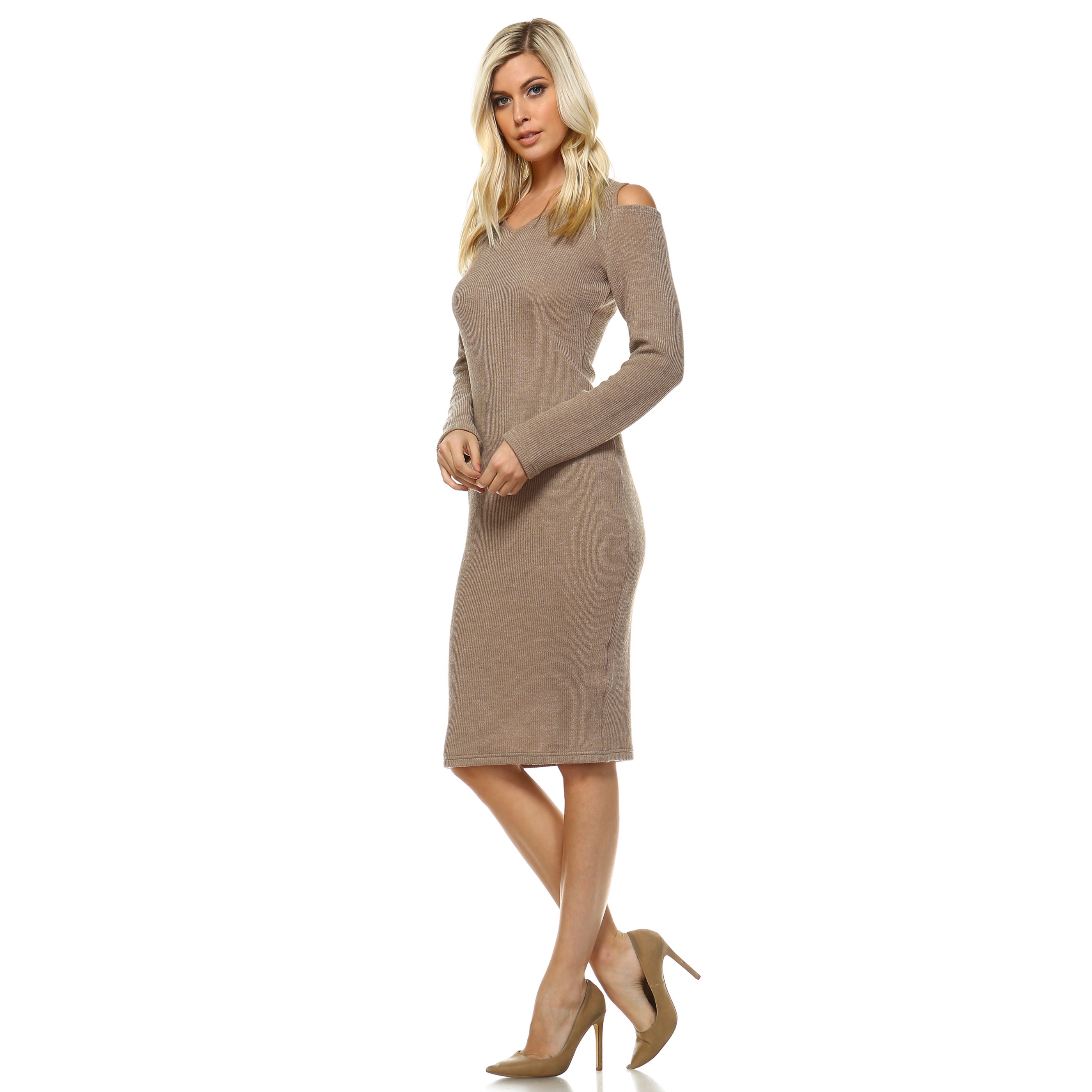 f7ba7a30ffe Shop White Mark Women s Taline Cutout Shoulder Midi Sweater Dress - Free  Shipping On Orders Over  45 - Overstock - 14506565