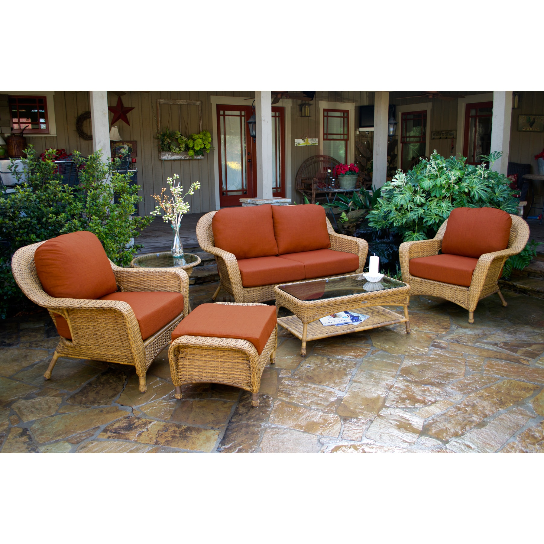 Lexington Light Brown Wicker Outdoor 6 Piece Patio Furniture Set With Cushions