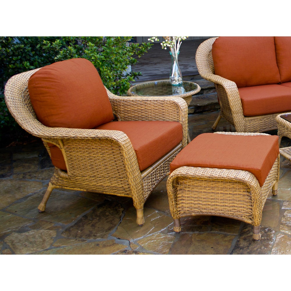 Shop Lexington Light Brown Wicker Outdoor 6-Piece Patio Furniture Set with  Cushions - Free Shipping Today - Overstock.com - 14513199 - Shop Lexington Light Brown Wicker Outdoor 6-Piece Patio Furniture