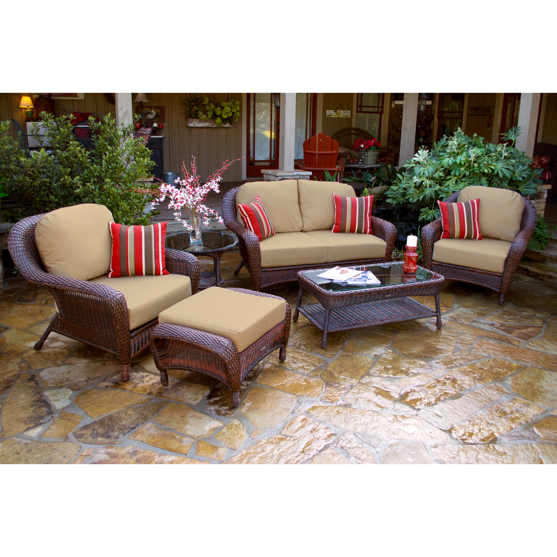 Lexington Brown Wicker Outdoor 6 Piece Patio Furniture Set with