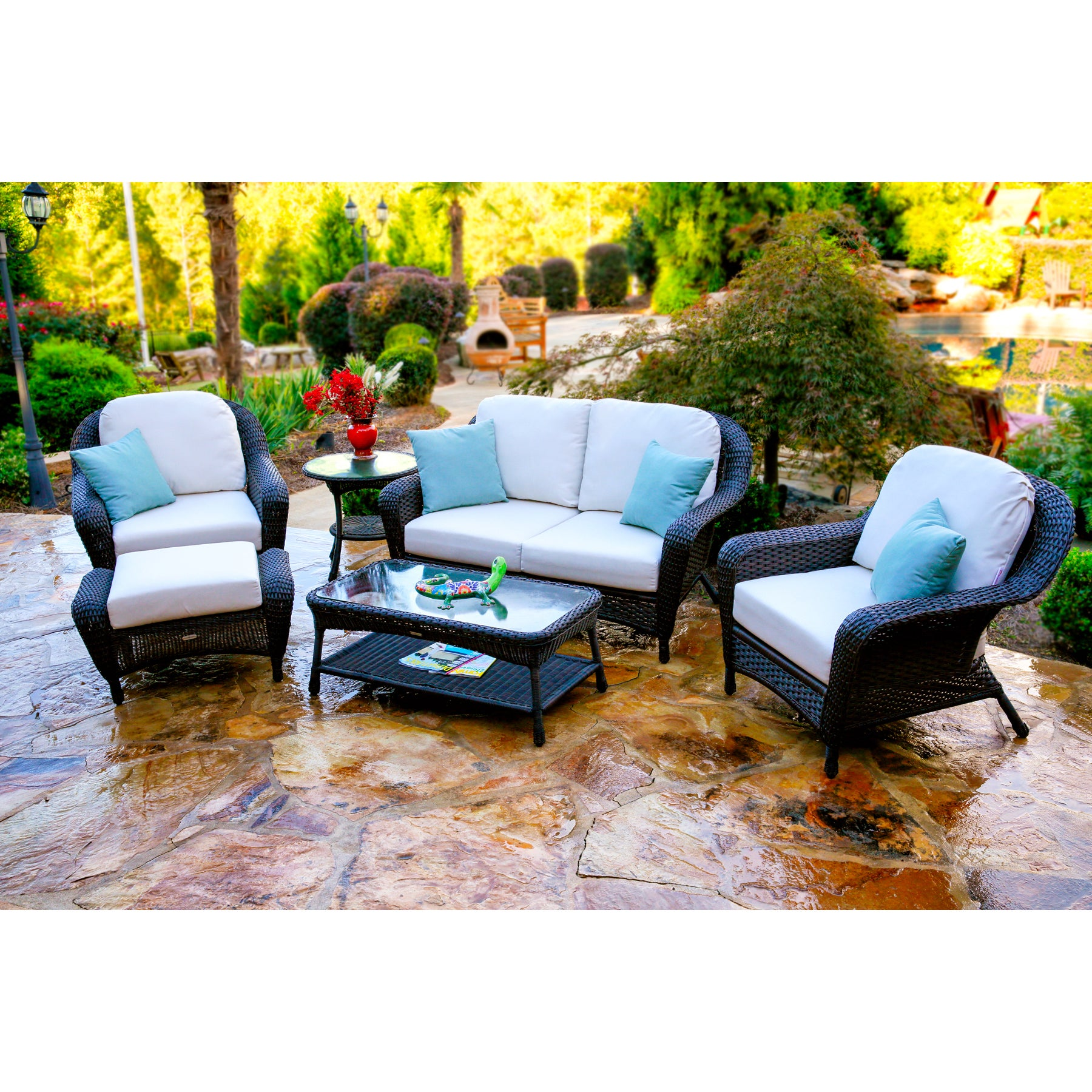 Lexington Dark Wicker Outdoor 6 Piece Patio Furniture Set With Cushions