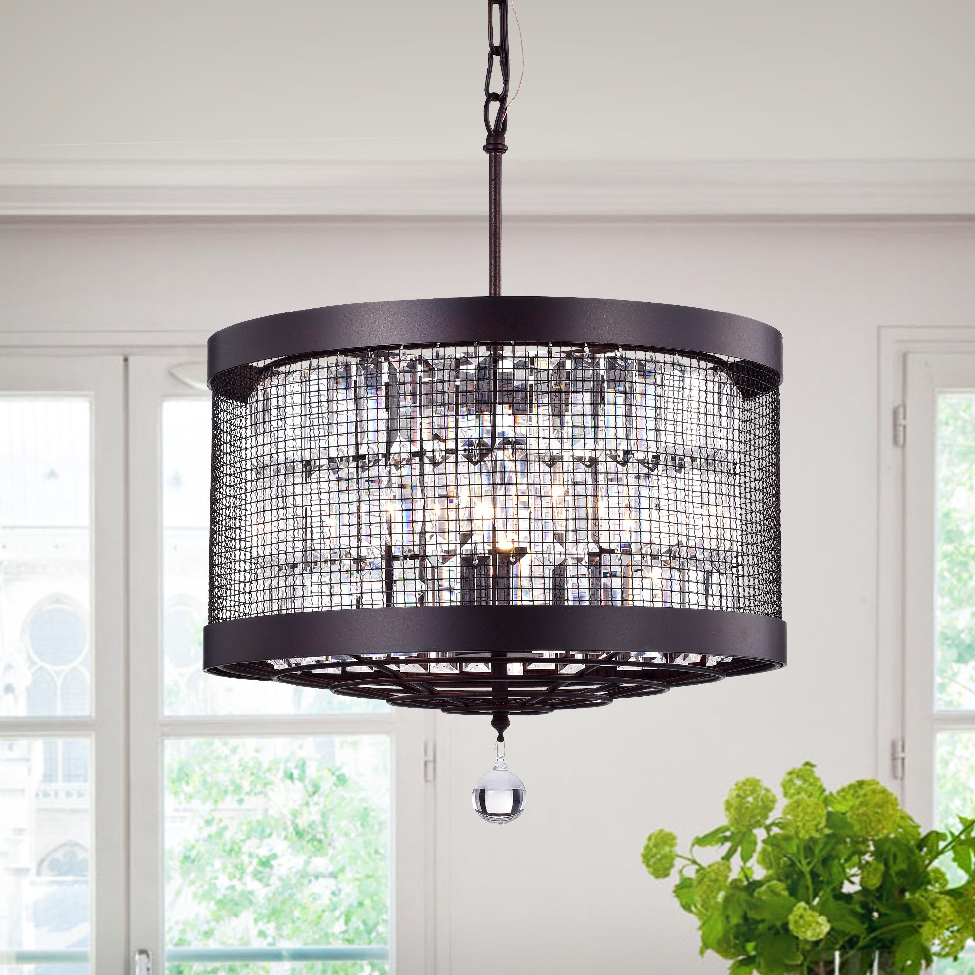 Shop Hawkins Rustic Iron Crystal Mesh 4-light Pendant - Free ...