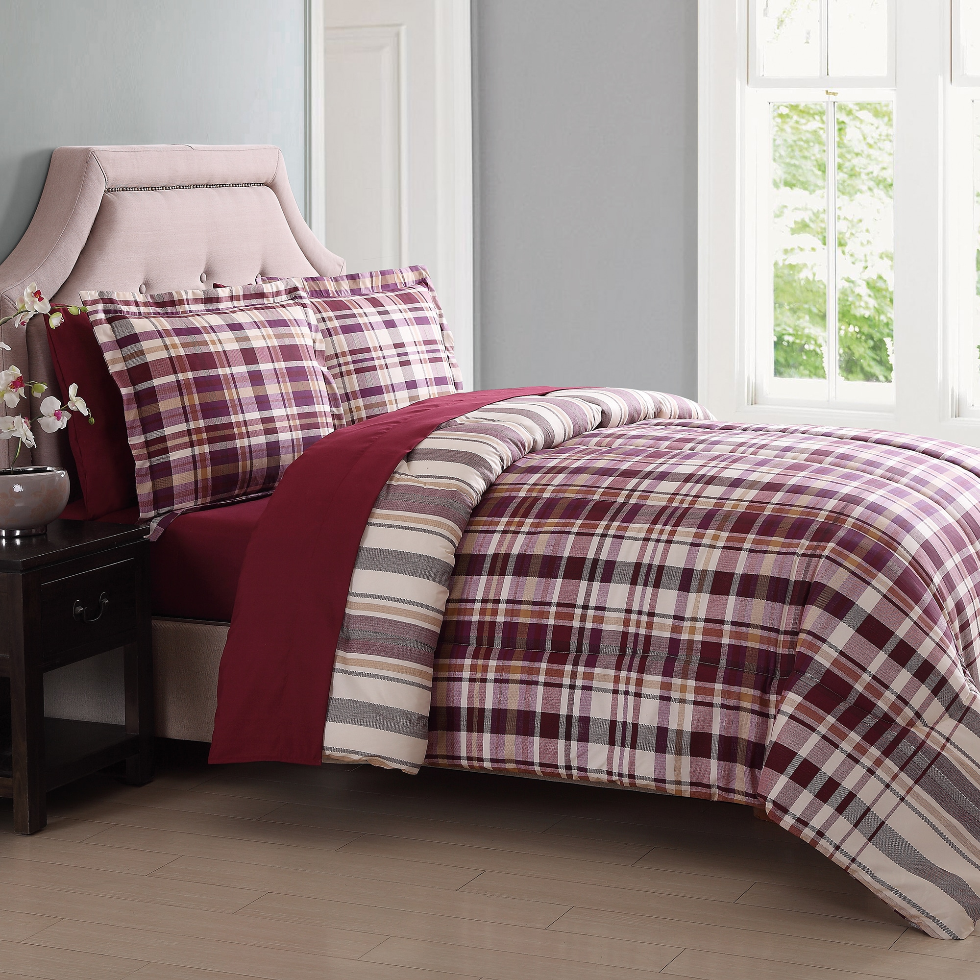 Shop London Fog Cornwall Plaid 7 Piece Bed In A Bag Free Shipping