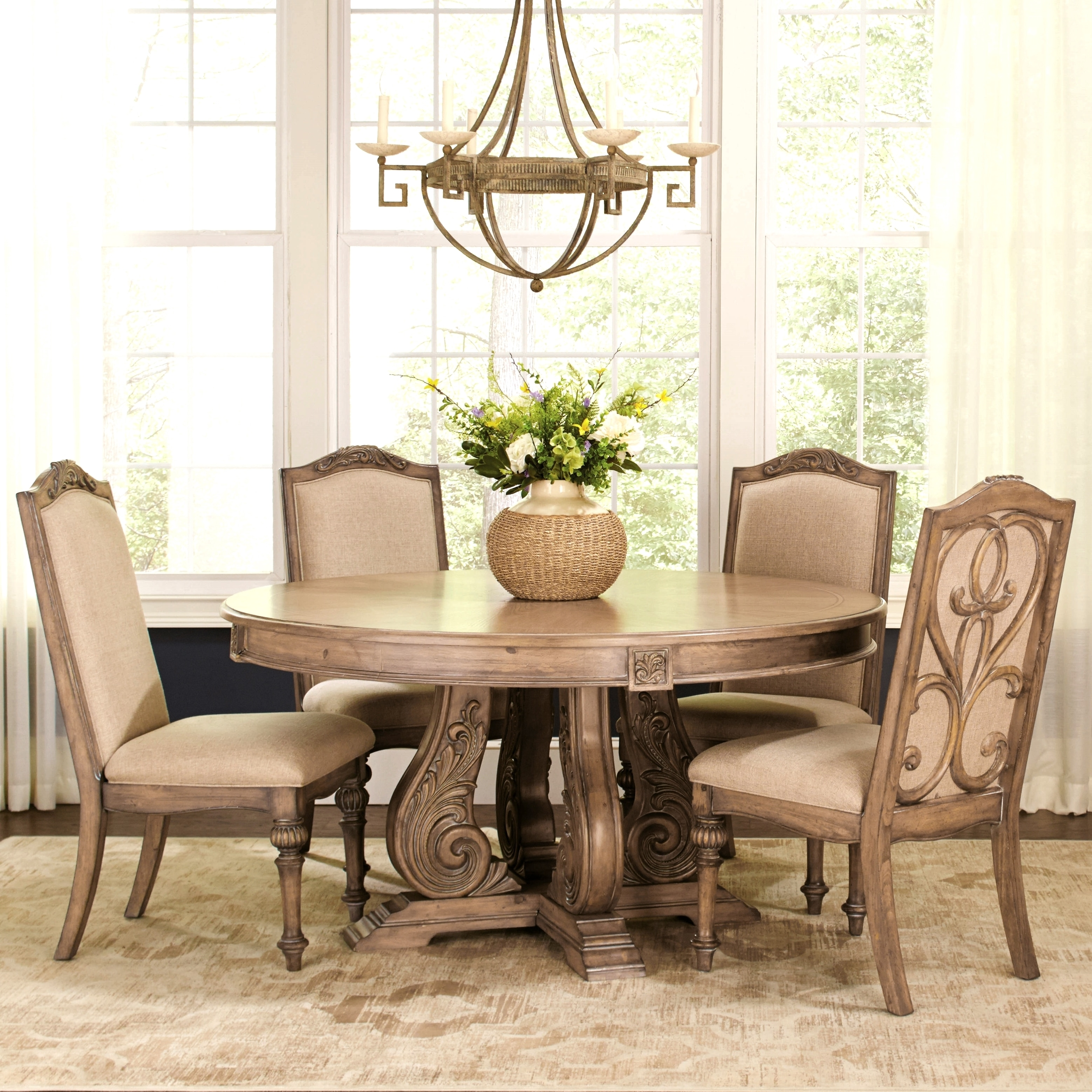 La Bauhinia French Antique Carved Wood Design Round Dining Set With Buffet  Server   Free Shipping Today   Overstock   21073664