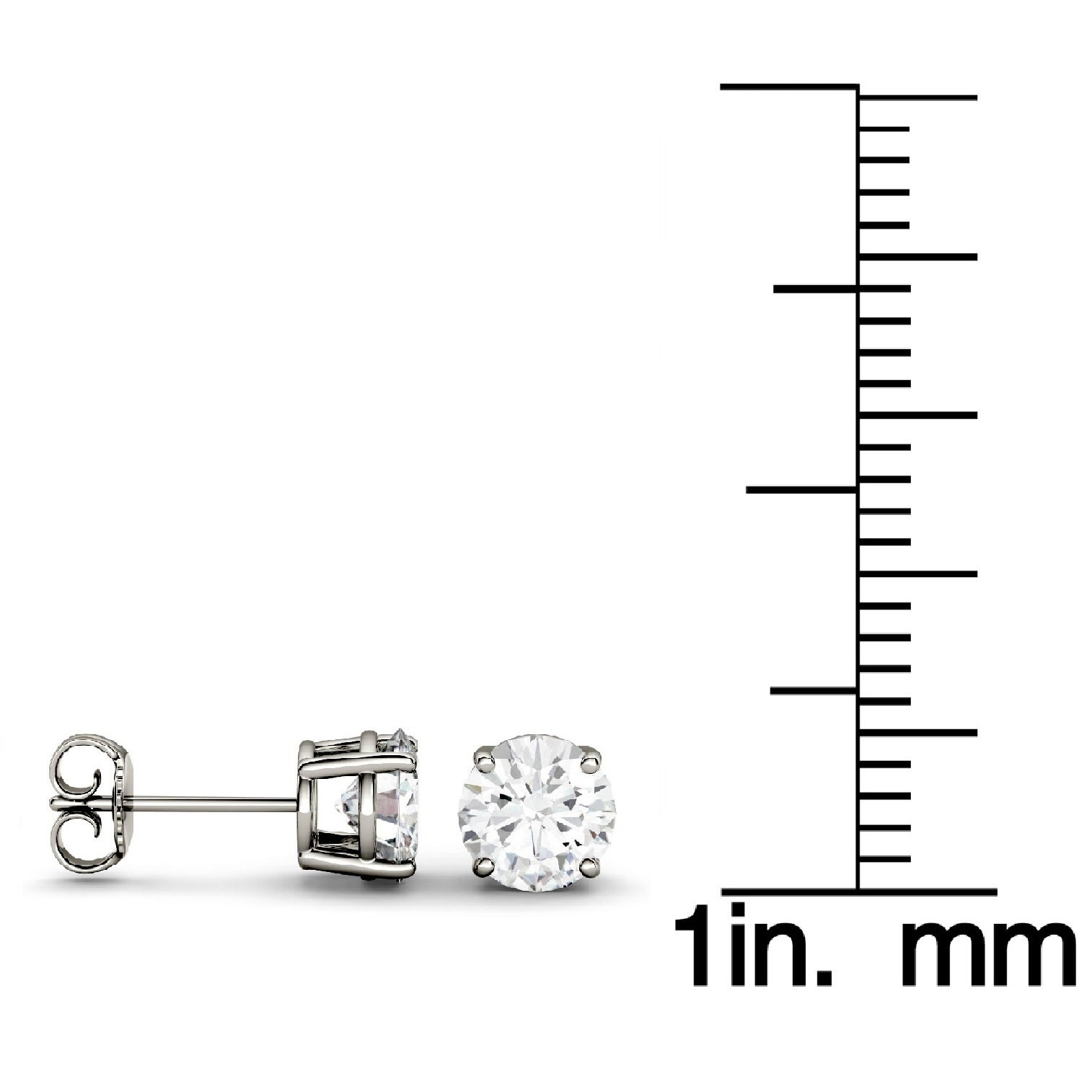 forever stud itm set bezel earrings ebay moissanite brilliant gold round