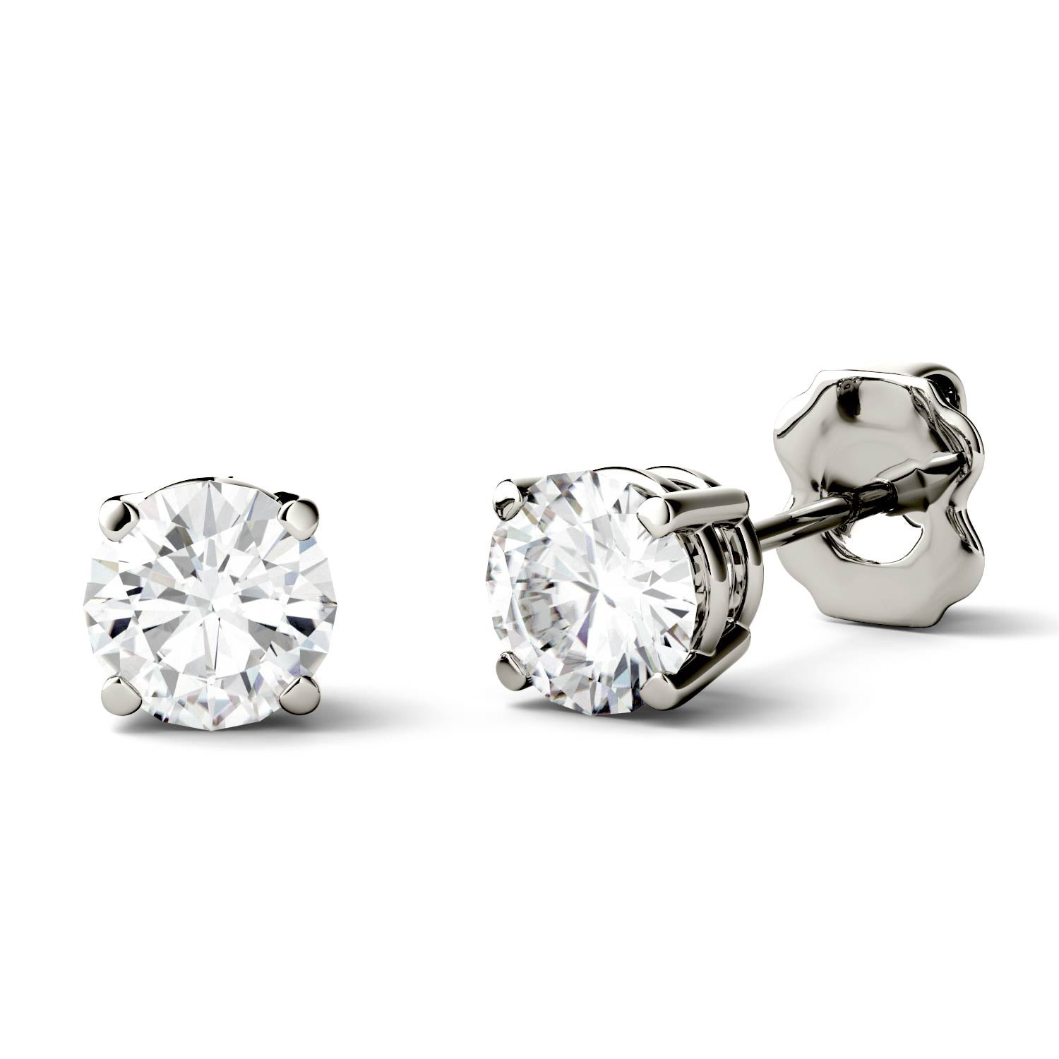 gold annello by cut brilliant moissanite kobelli pin earrings round stud