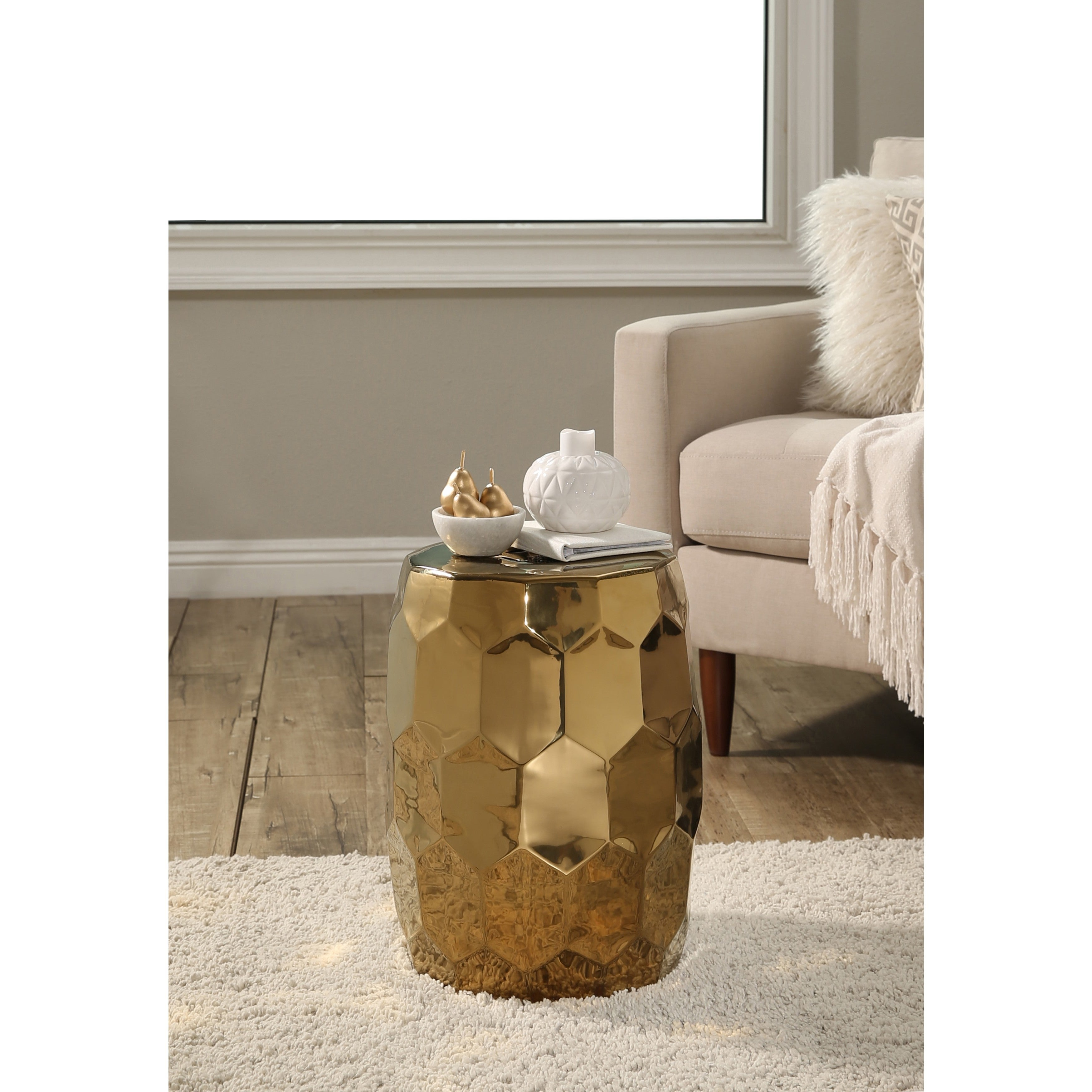 Shop Abbyson Milan Gold Chrome Ceramic Garden Stool - On Sale - Free ...