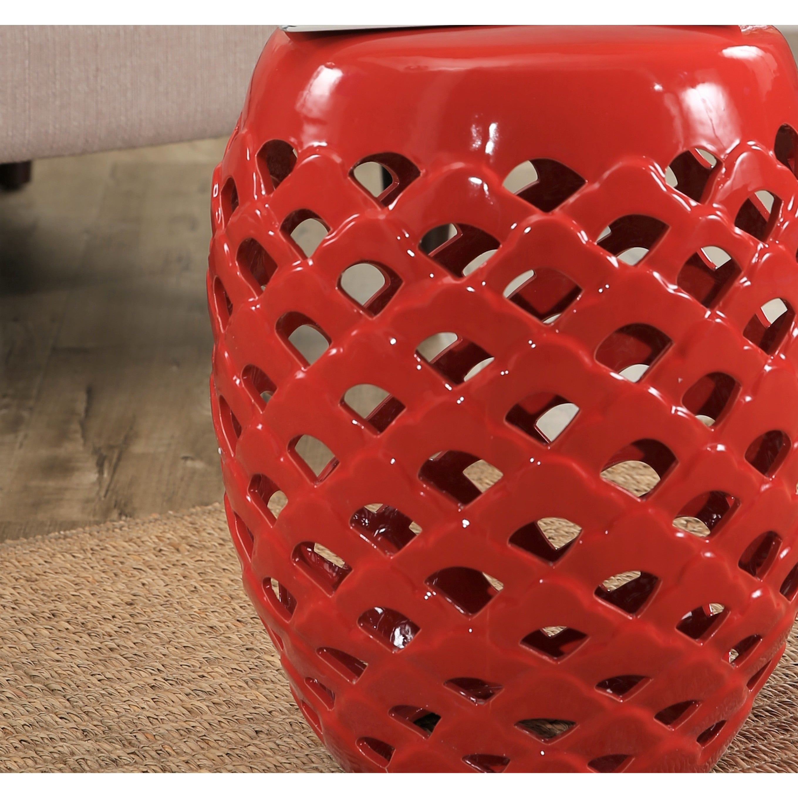 Shop Abbyson Oakley Red Ceramic Garden Stool   Free Shipping Today    Overstock.com   14520772