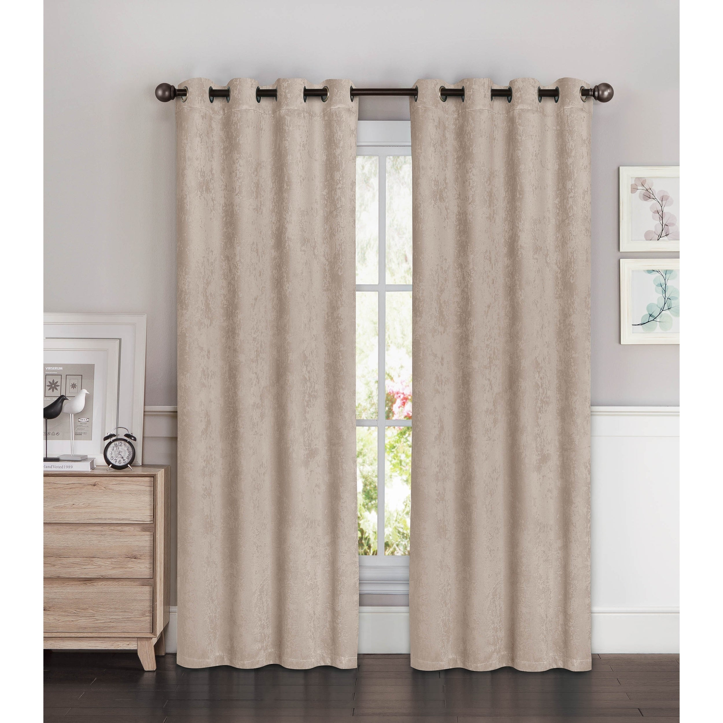 Shop Bella Luna Faux Suede Room Darkening Extra Wide 96 Inch Grommet Curtain Panel Pair