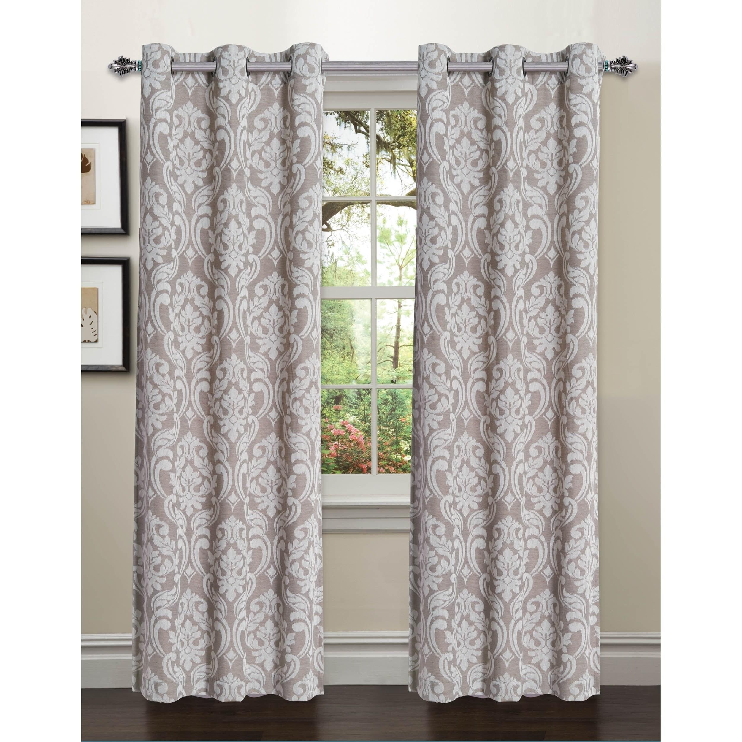 Shop Elinor Linen Blend Jacquard 96 Inch Grommet Curtain Panel Pair