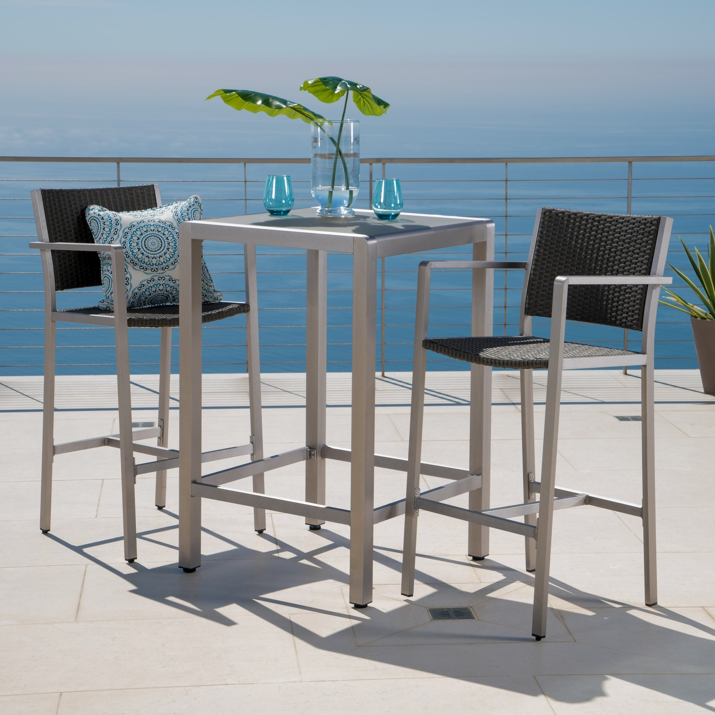 Shop Cape Coral Outdoor 3-piece Bar Set with Glass Table Top by ...
