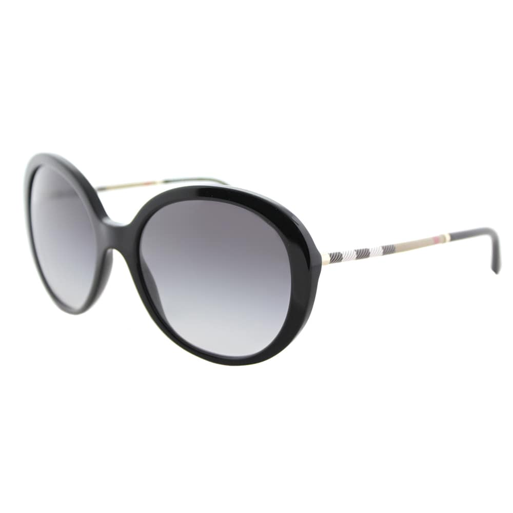 175aa287c7 Burberry BE 4239Q 30018G Black Plastic Round Sunglasses Grey Gradient Lens