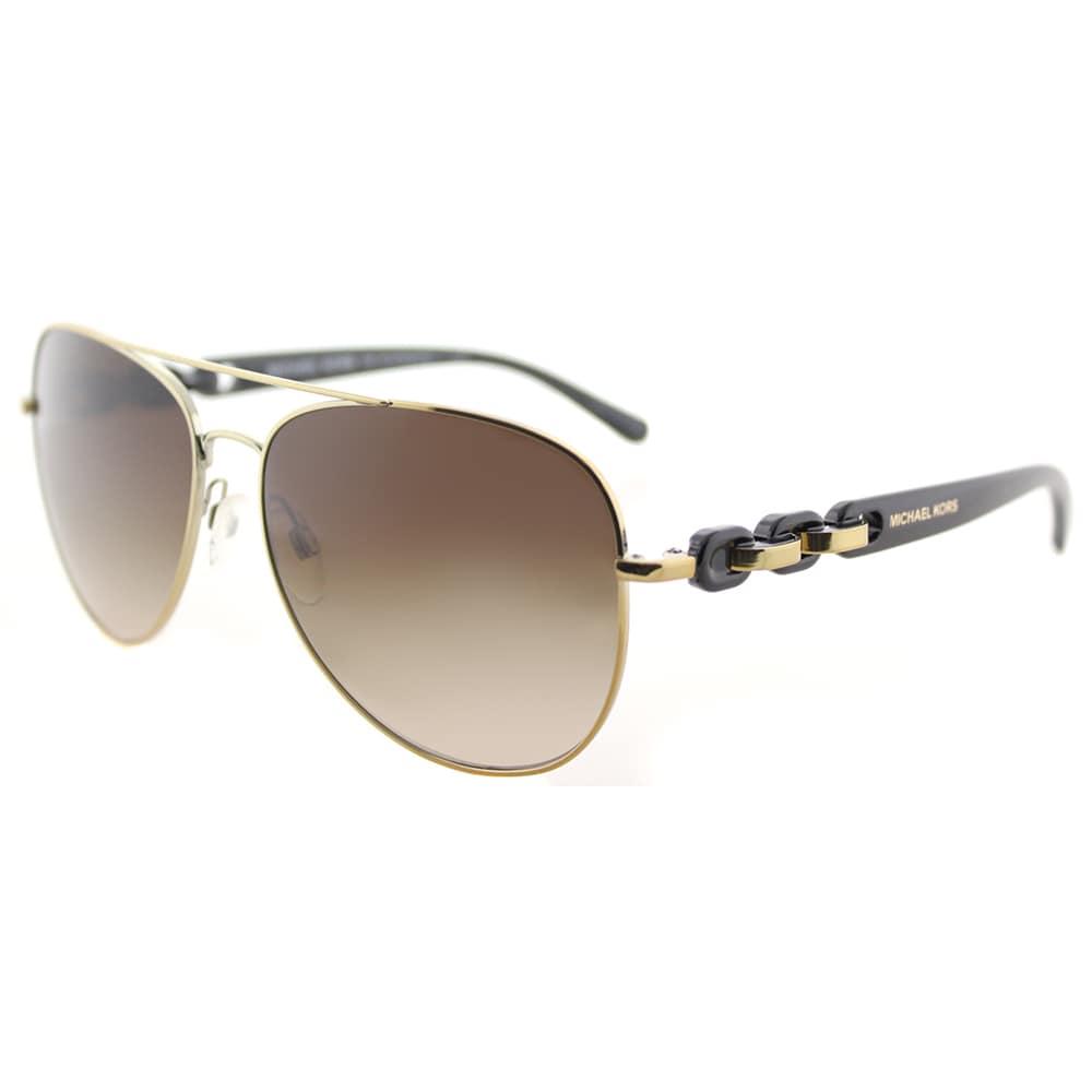 f9ef287b1aeb Michael Kors MK 1015 112813 Pandora Gold Tone Metal Aviator Sunglasses  Brown Gradient Lens