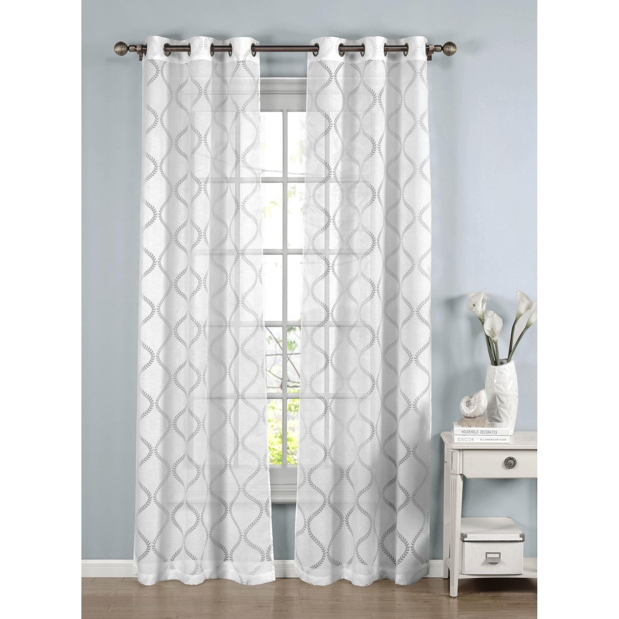 Window Elements Lisse Cotton Blend Burnout Sheer 96 Inch Grommet Curtain Panel Pair