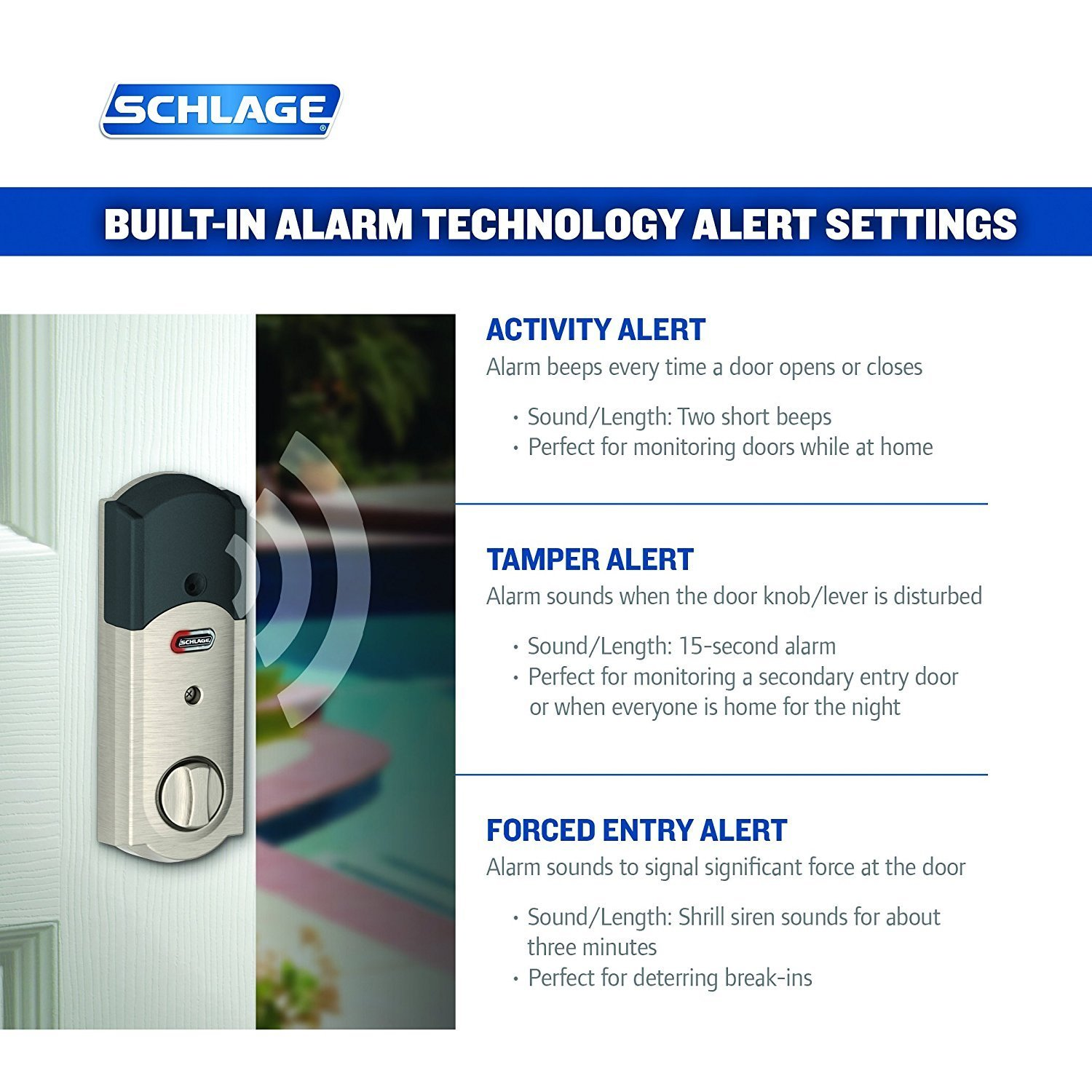 Shop Schlage Be469 Cam619 Touchscreen Deadbolt W Built In Alarm Frost Accent Lever Satin Nickel Free Shipping Today 14532346