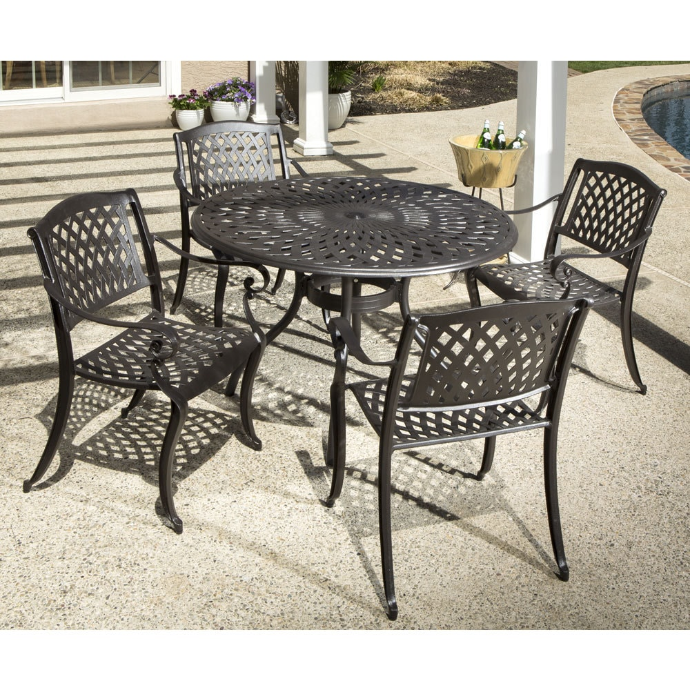 aluminum dining room chairs. Westbury Cast Aluminum Dining Set With Round Table And 4 Stackable Arm Chairs - Free Shipping Today Overstock 21087380 Room A
