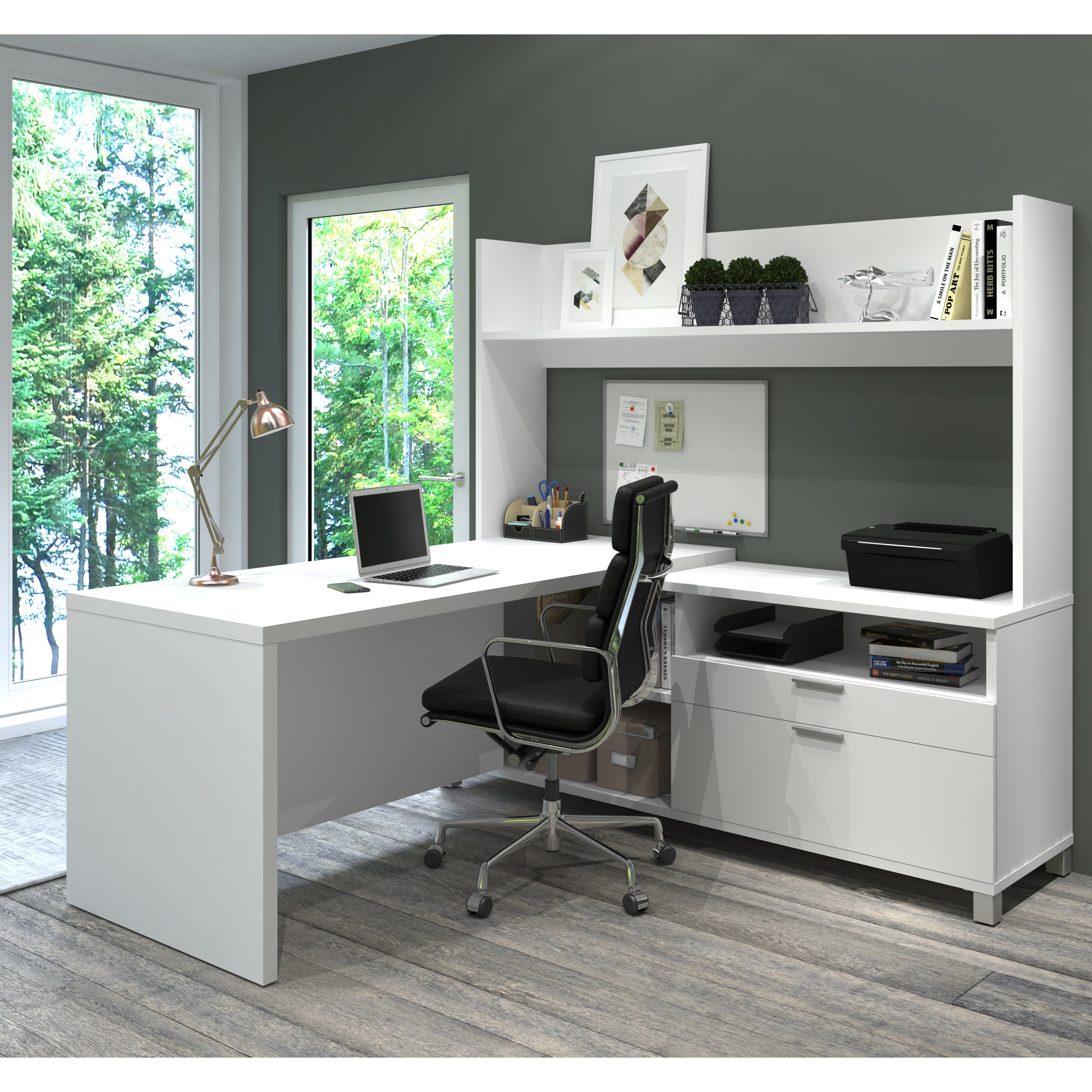 Shop Pro Linea L Desk with Open hutch Free Shipping Today