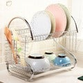 Silvertone Aluminum Multifunctional S-shaped Dual-layer Bowls/Dishes/Chopsticks/Spoons Collection Shelf Dish Drainer