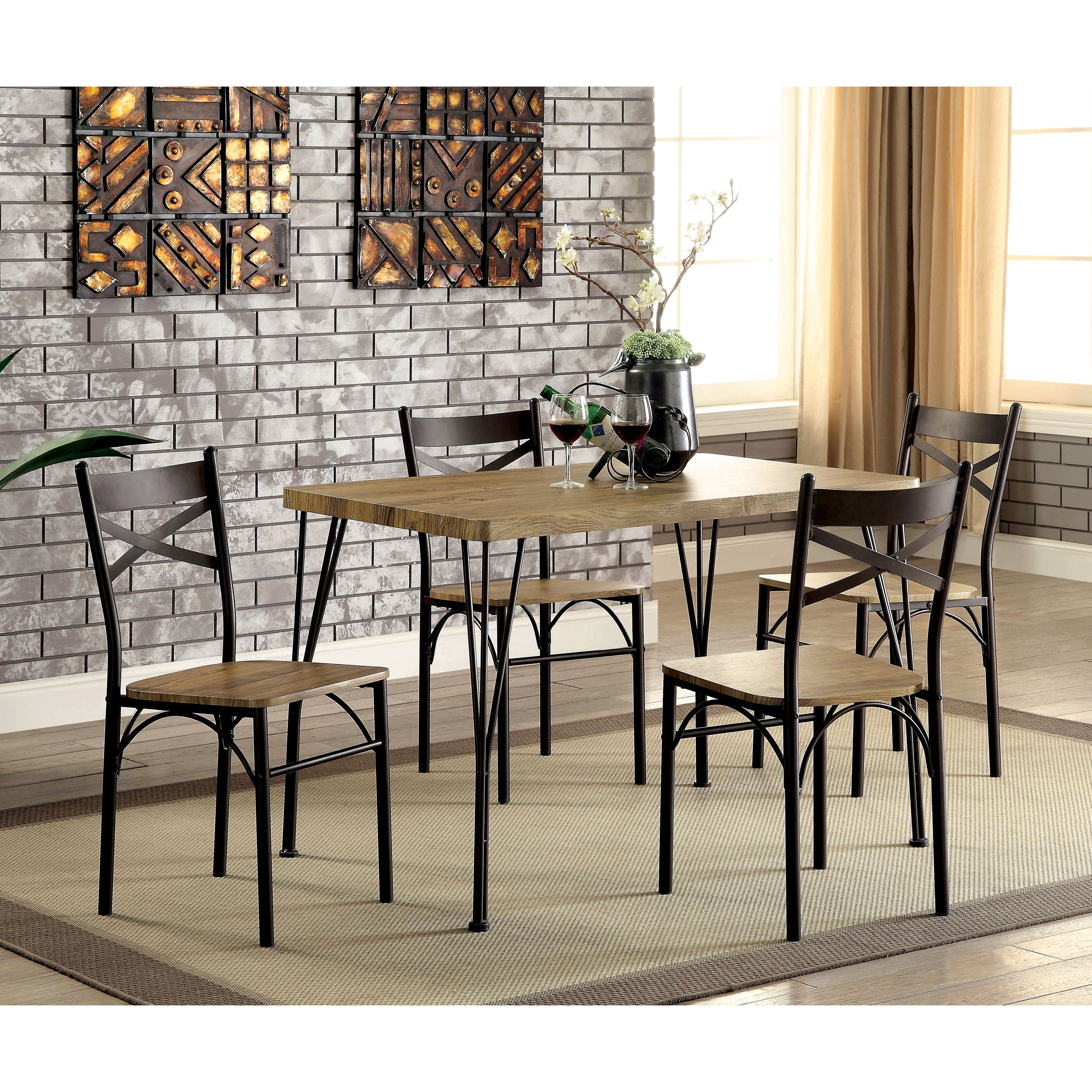 Shop furniture of america hathway industrial 5 piece dark bronze small dining set on sale free shipping today overstock com 14538630