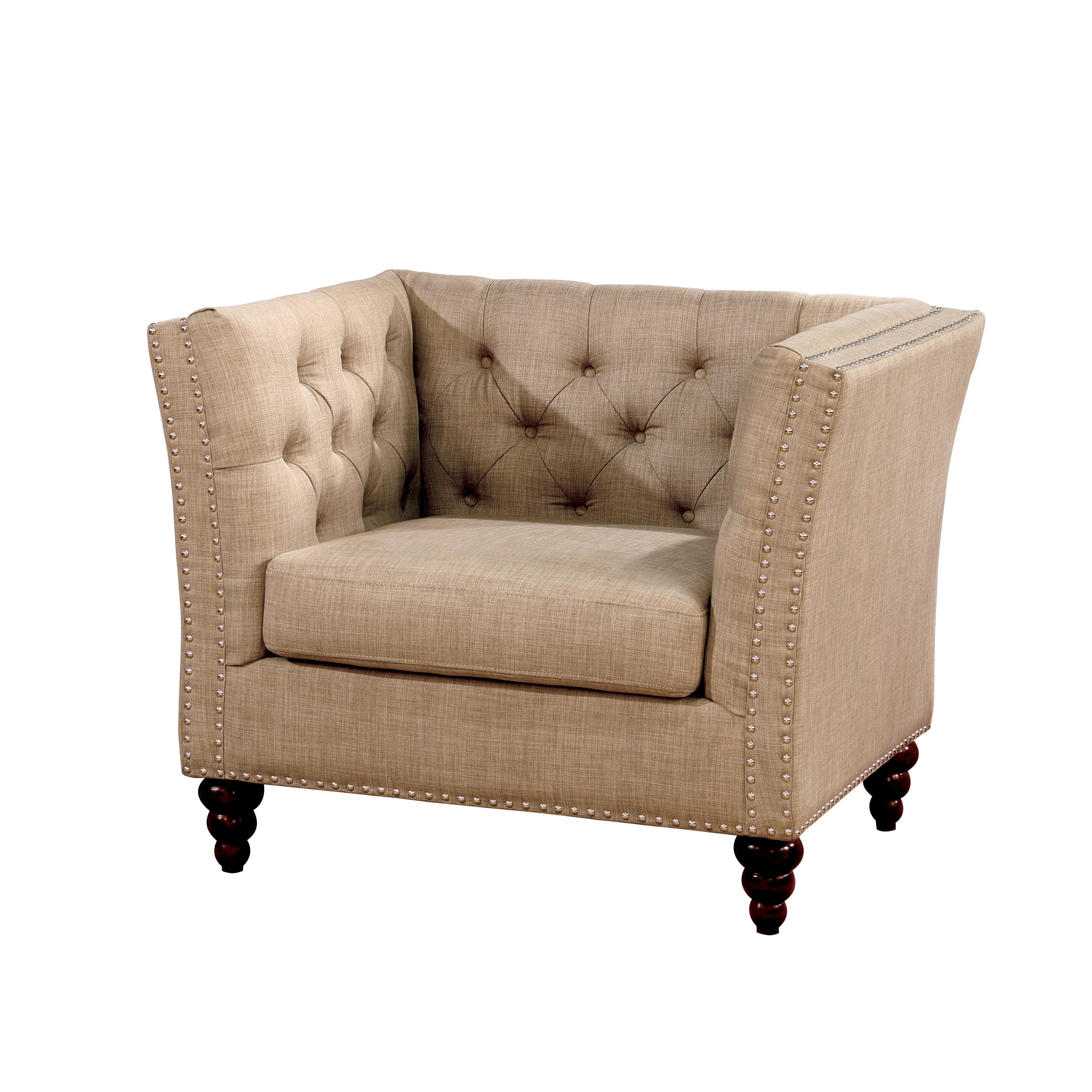 Furniture Of America Cerona Contemporary Tuxedo Style Beige Tufted Linen  Arm Chair   Free Shipping Today   Overstock.com   21090883