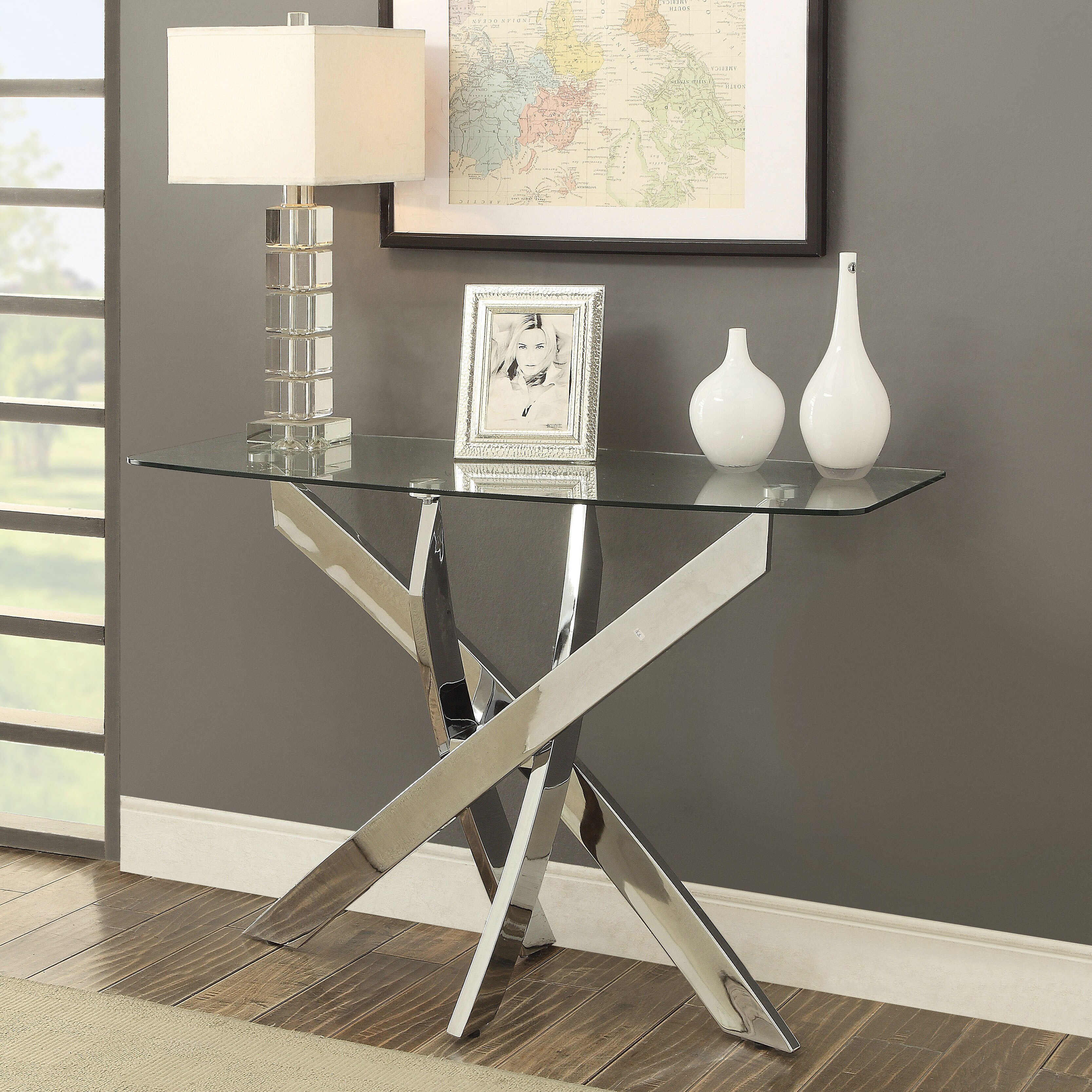 Shop furniture of america propel modern glass top chrome sofa table on sale free shipping today overstock com 14538643