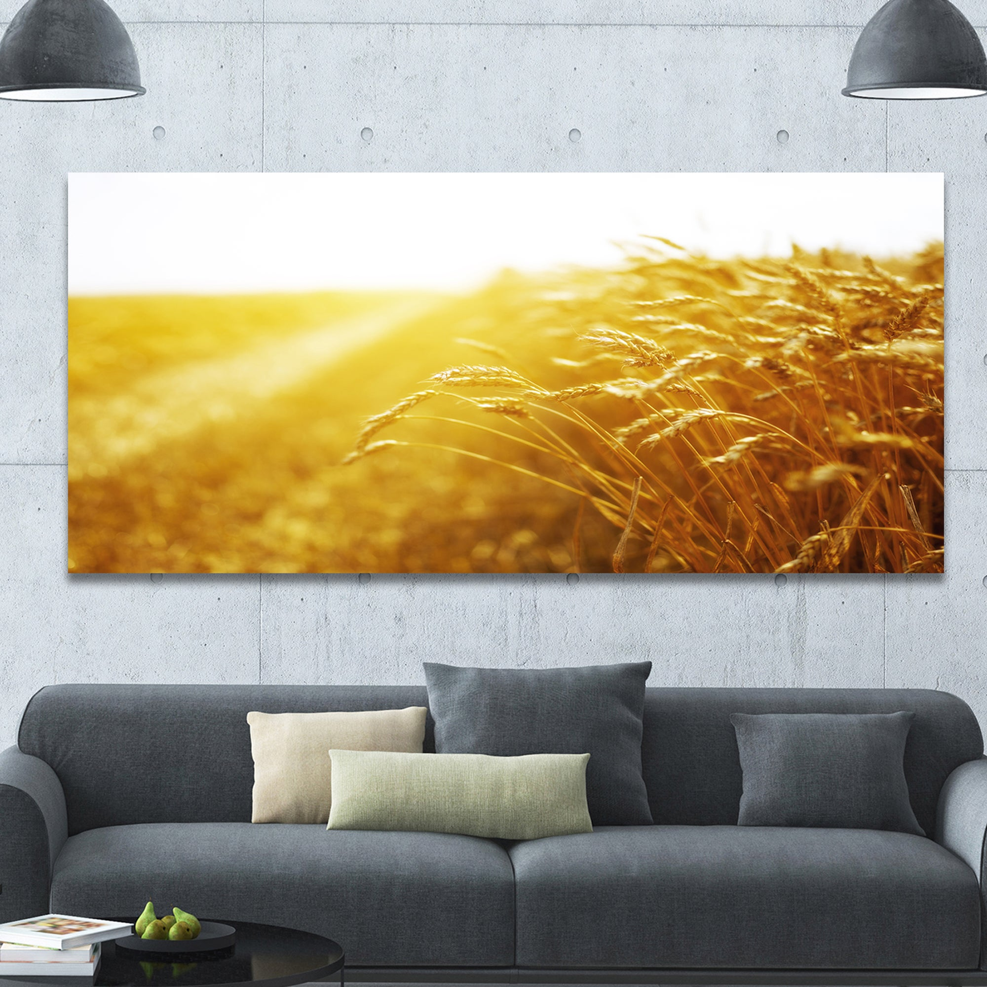 Designart \'Bright Sunset over Wheat Field\' Landscape Canvas Wall ...