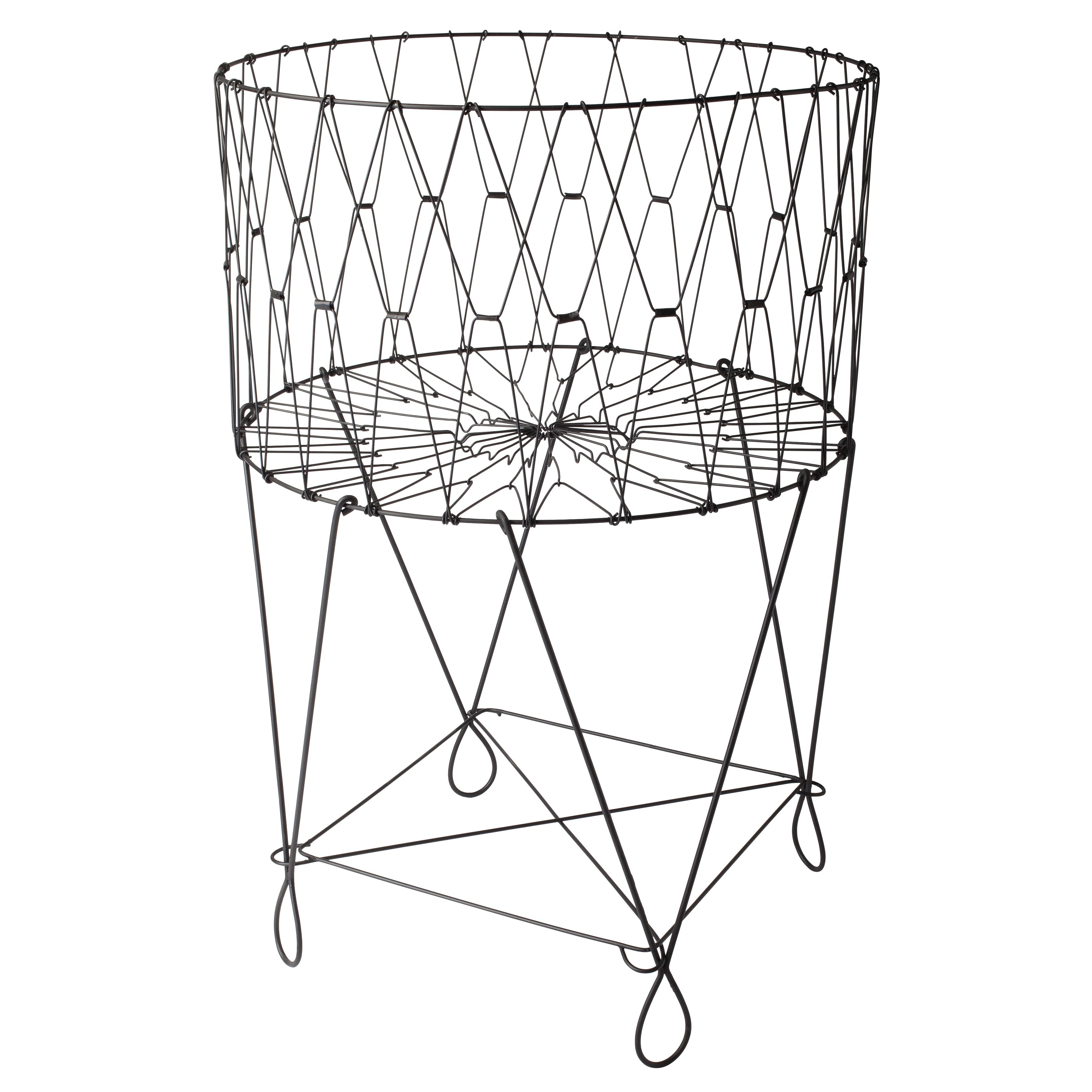 Shop Large Vintage Black Wire Laundry Basket Hamper - On Sale - Free ...