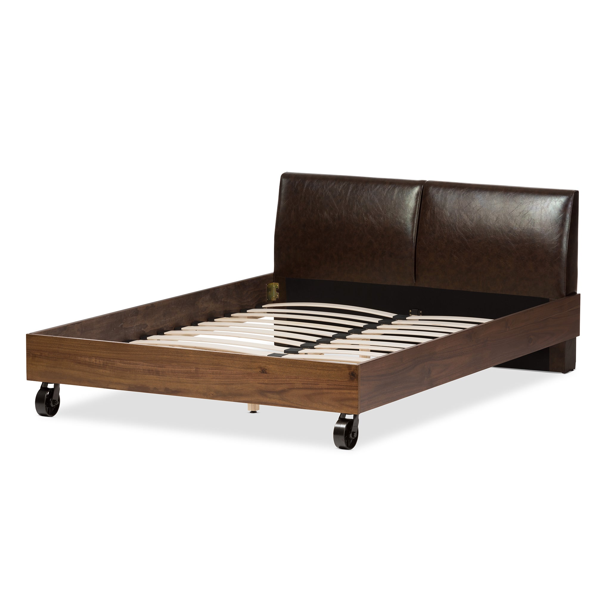 Shop Industrial Dark Brown Faux Leather Bed by Baxton Studio - On ...